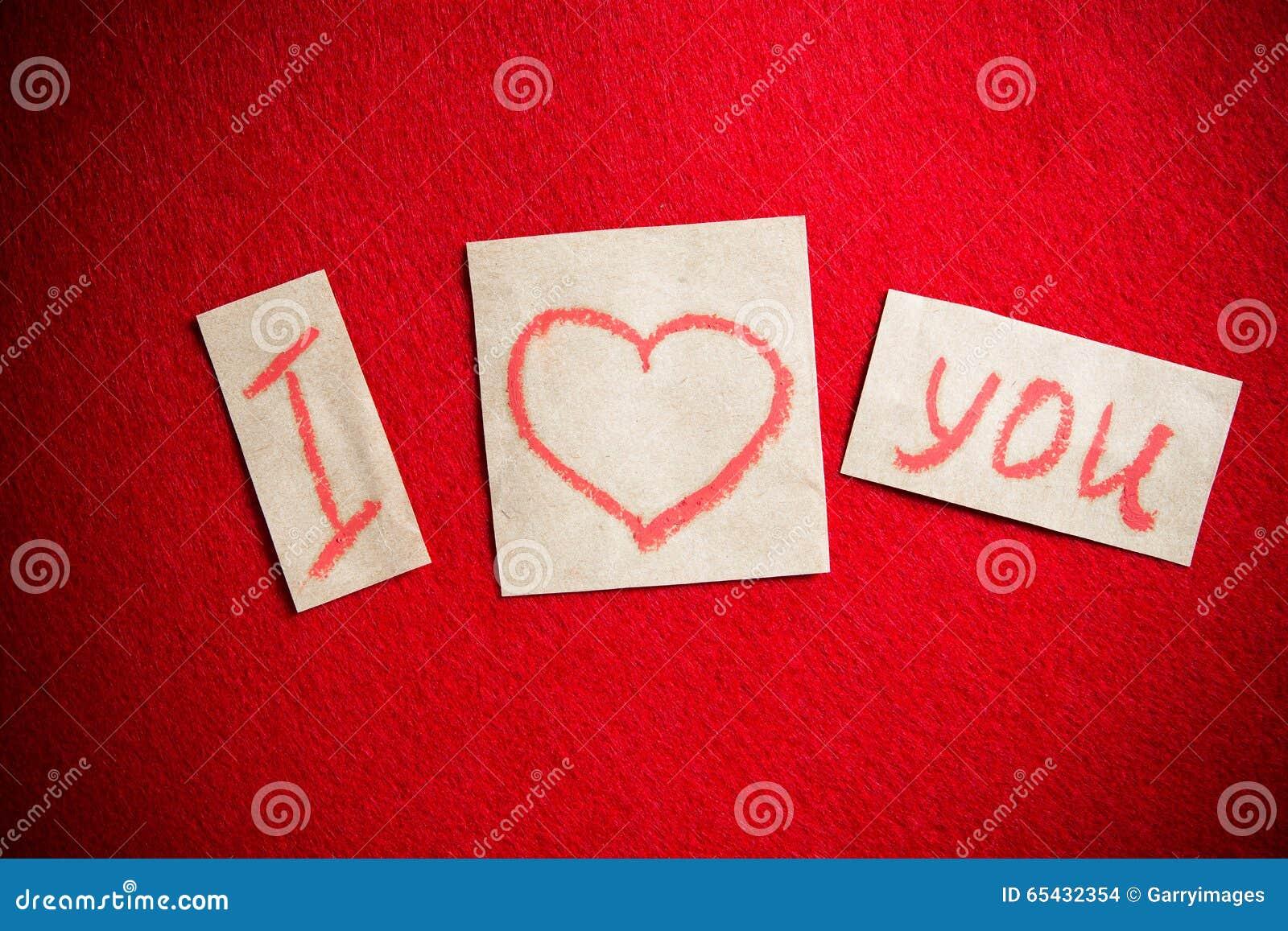 Avec Message À Le Lèvres Fond Sur T'aime Je Manuscrit Rouge O08wPnk