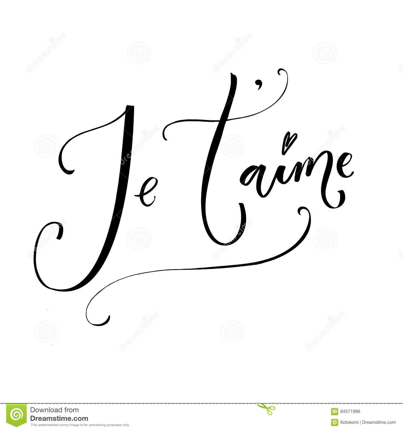 Je taime french phrase means i love you romantic quote I love you calligraphy