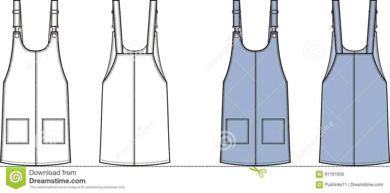 fa7355a326b7 Vector illustration of womens jean overall dress. Front and back. Clothes  in denim style