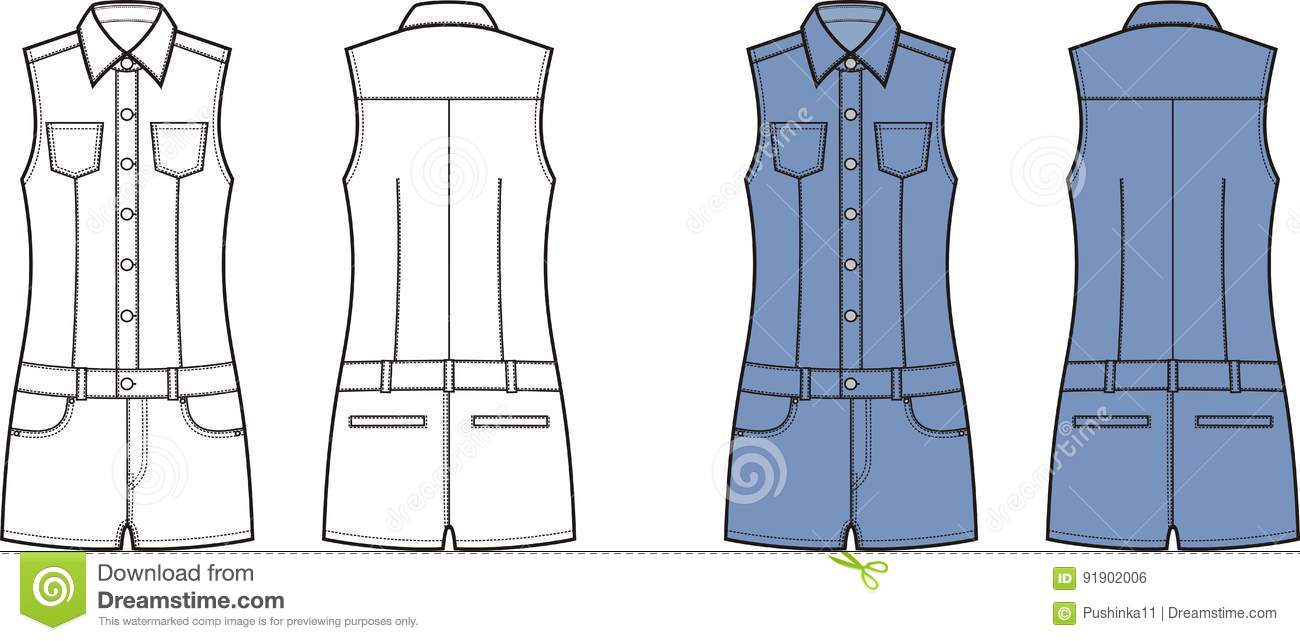 8bb6c6840545 Vector illustration of women`s jean overall shorts. Front and back views.  Clothes in denim style