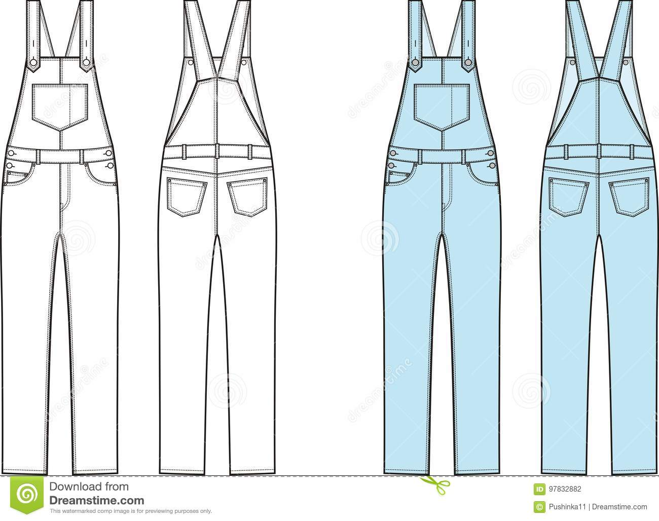 0aecff1c3f39 Vector illustration of jean coverall. Clothes in denim style. Front and back