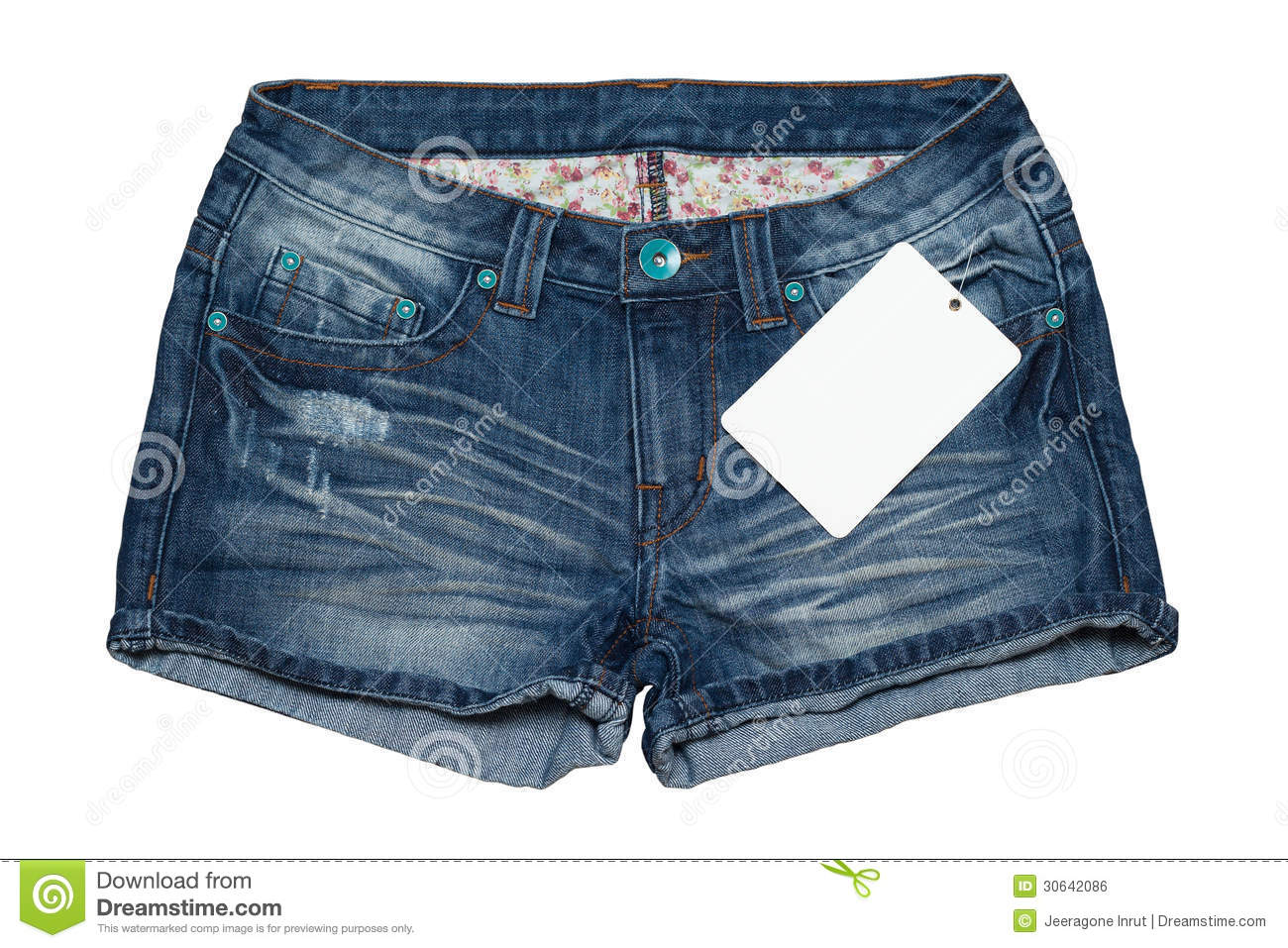 339331b0c7e1c Jean Short Pants With Price Tag Royalty Free Stock Image - Image .