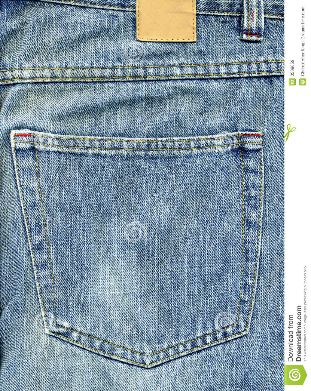 Jeans Back Pocket With Patch Stock Image - Image 3508659