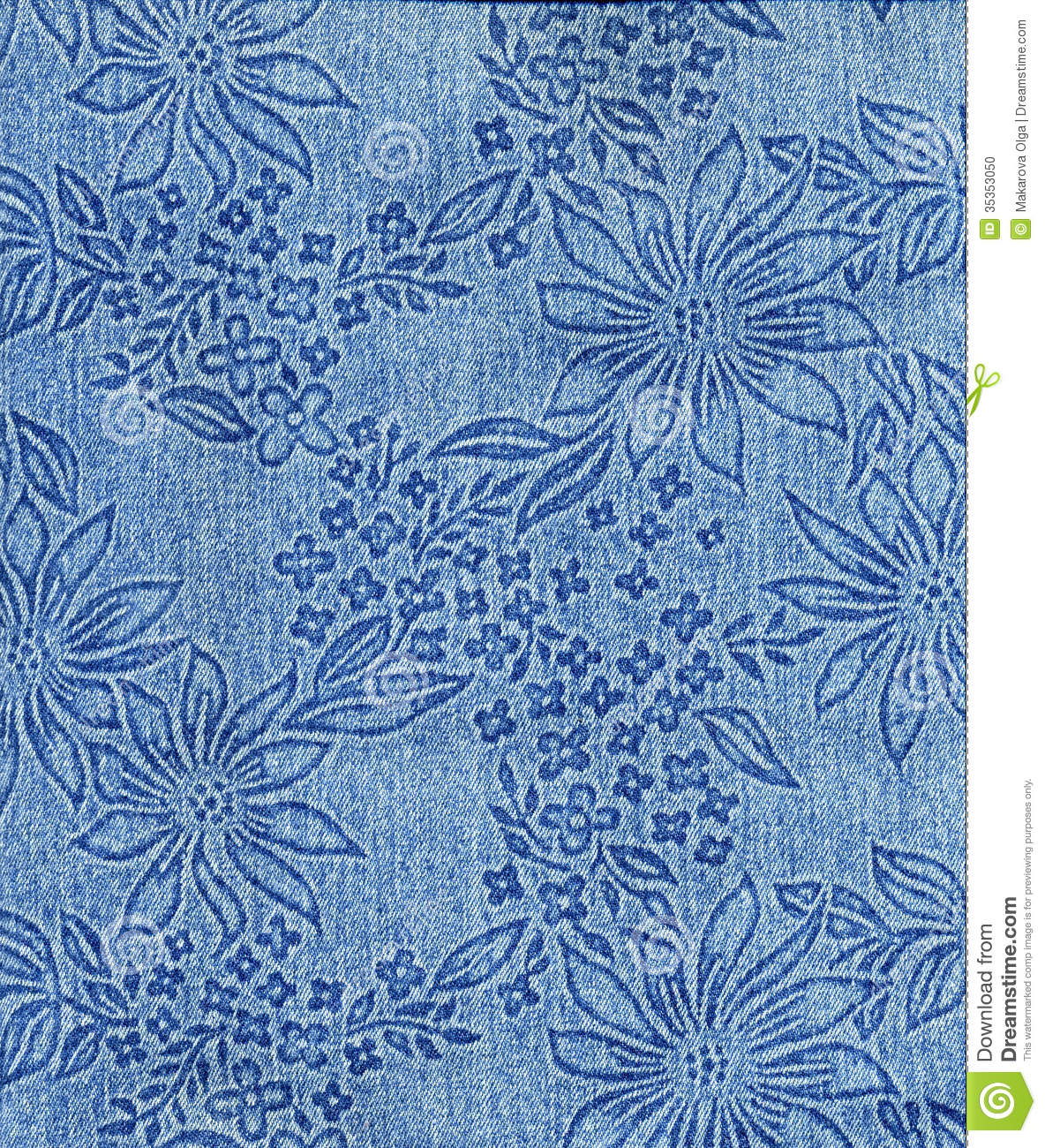Jeans Cloth With Flower Pattern Stock Photo - Image 35353050