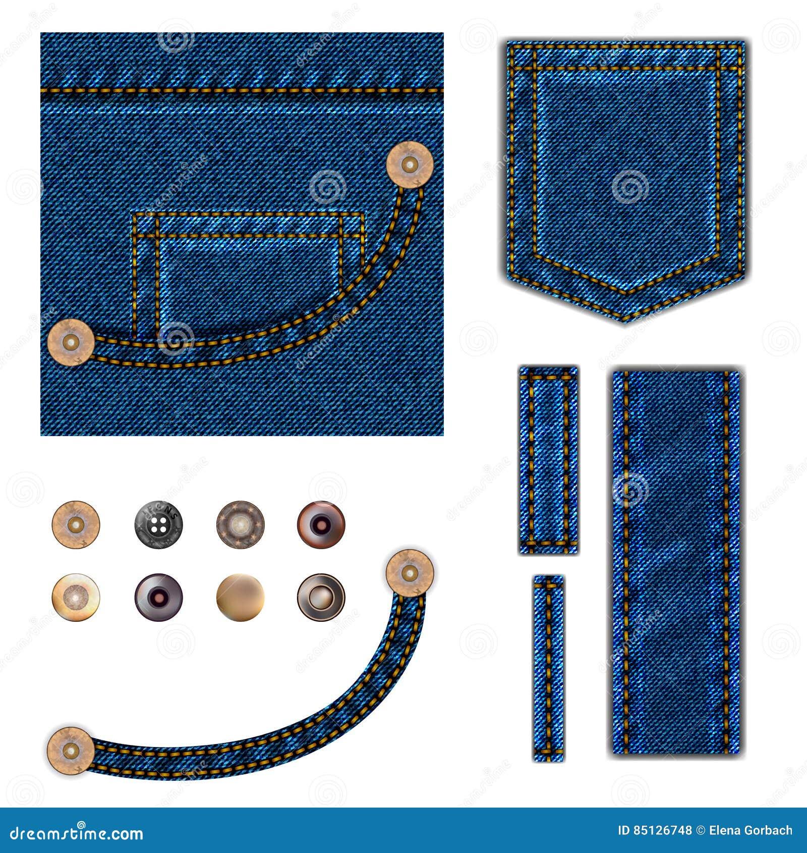 Jeans e tasti Insieme dell illustrazione Il fondo blu del denim con la tasca, metallo rompe gli elementi del confine di struttura