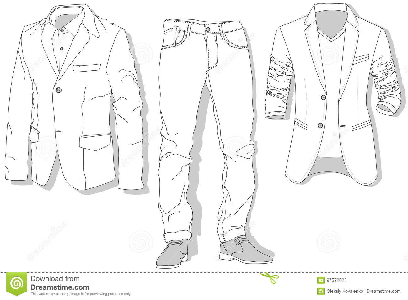 Jeans And Jacket Illustration Vector Set Stock Vector Illustration