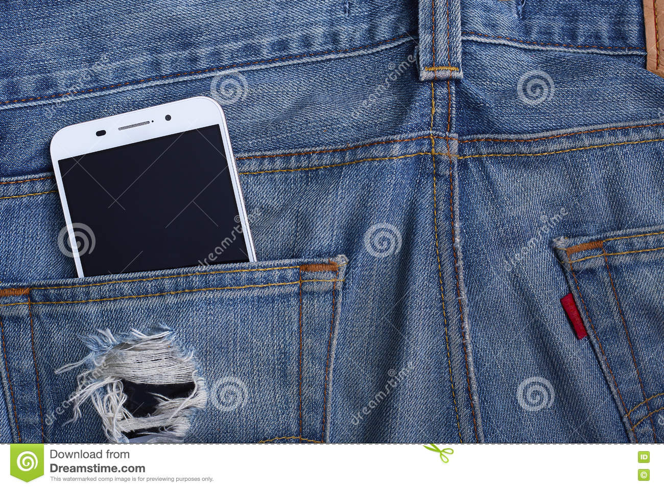 Jeans pocket with smartphone