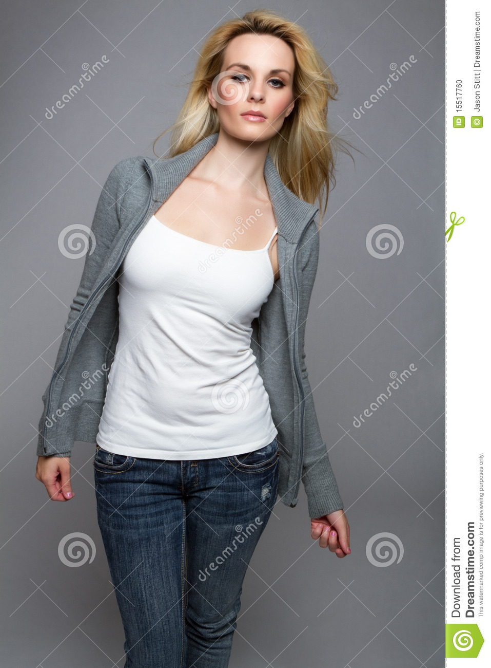 jeans sweater woman stock photo image 15517760