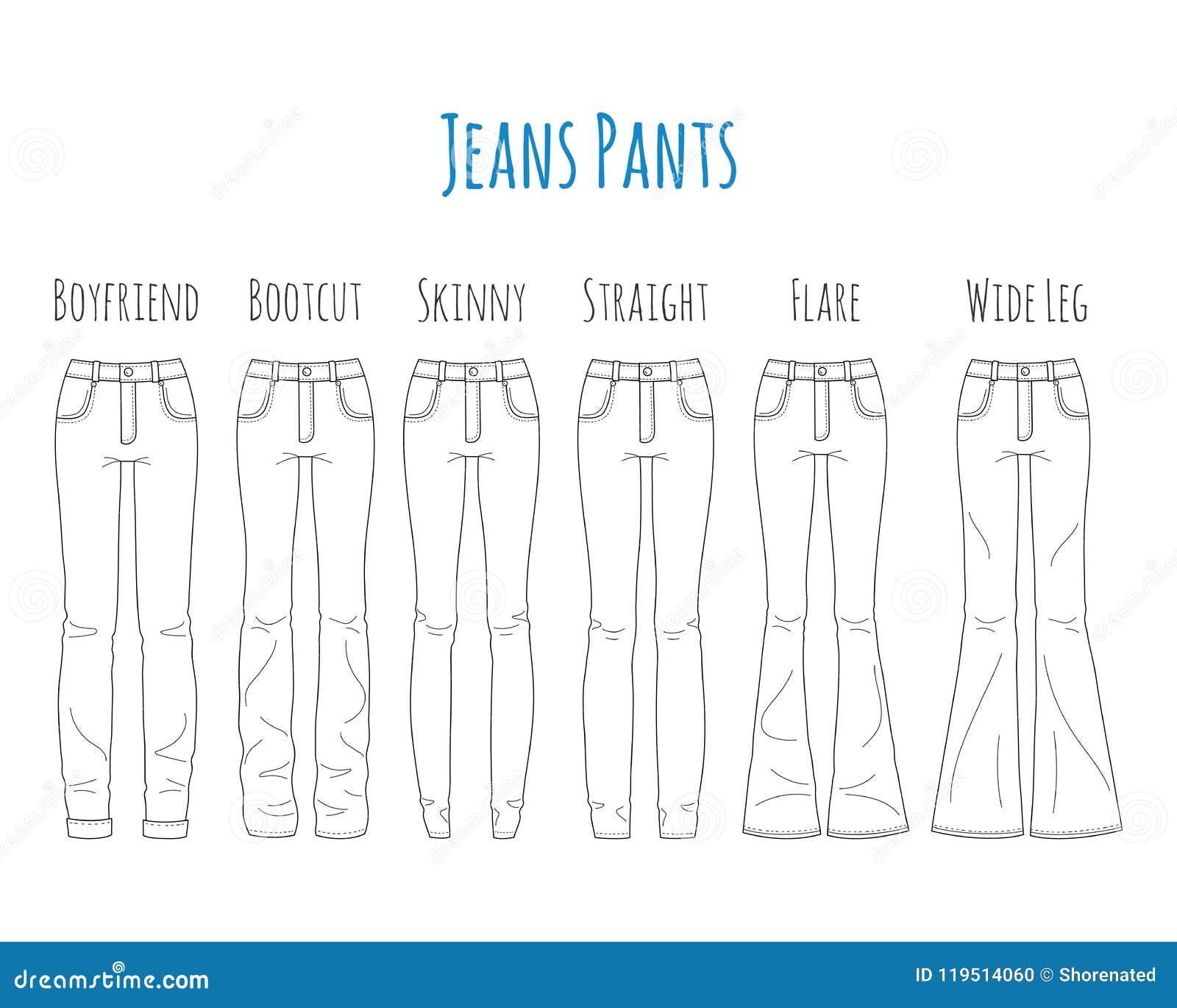 Jeansflåsandesamlingen, skissar vektorillustrationen