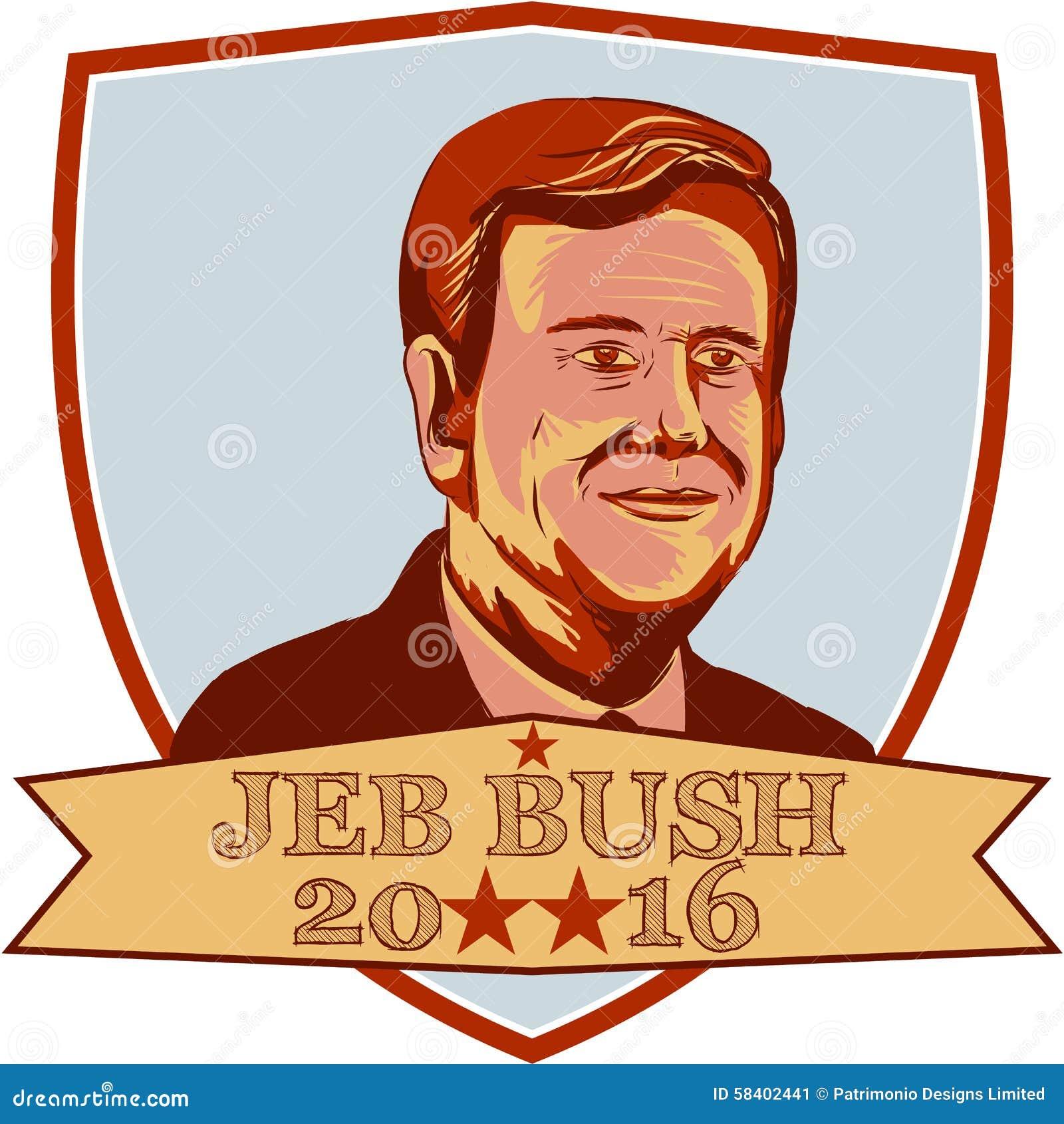 jeb bush president 2016 shield editorial photo illustration of