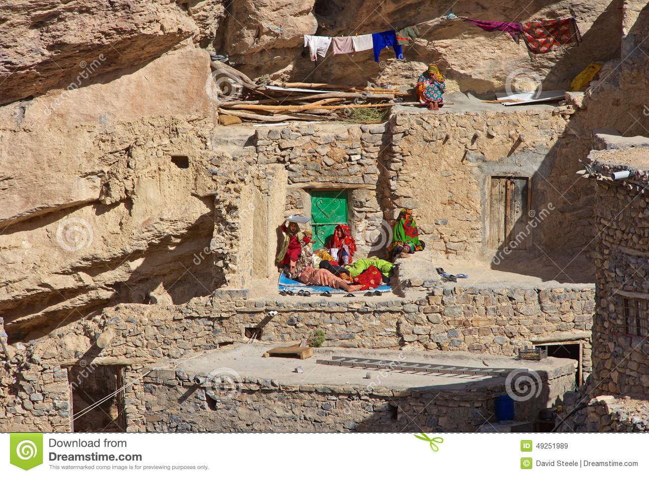 Editorial Stock Image Jebel Akhdar Cliff Hamlet Omani Women Relaxing Outside Traditional Stone House Small Near Sroot Mountains Sultanate Image49251989 on Free Tiny House Plans