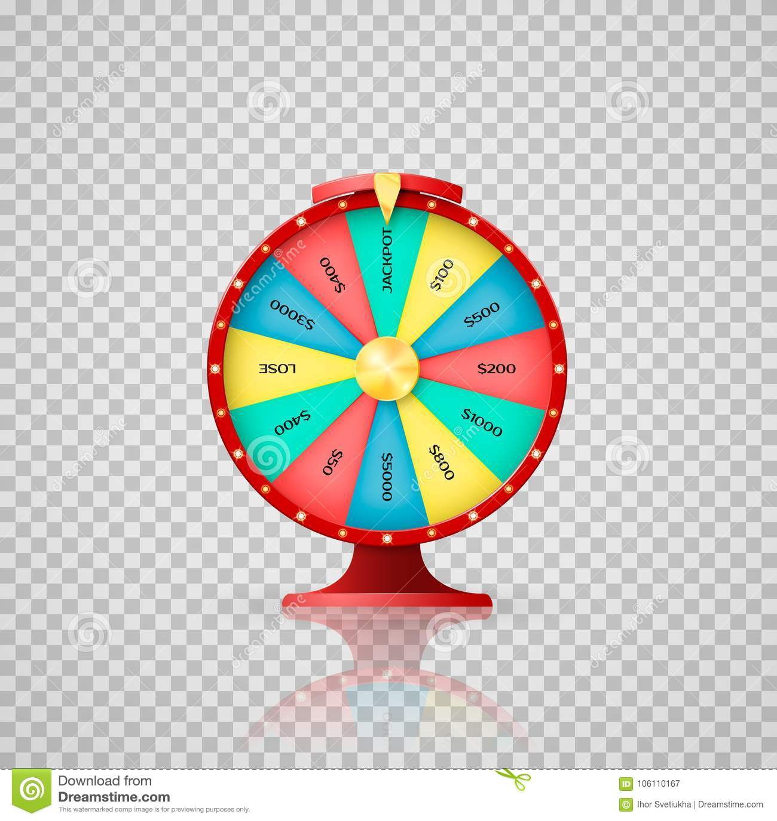 Jeckpot-Symbol des glücklichen Lottogewinners Kasino, Glücksradpfeilpunkt zum Jackpot Vektorillustration auf transparentem backgr