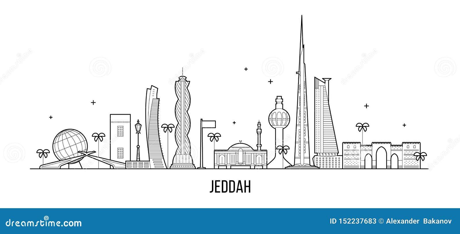 Jeddah linia horyzontu Arabia Saudyjska miasta wektorowa liniowa sztuka