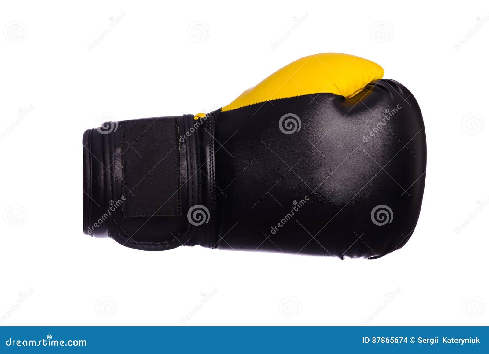 Jeden Żółte bokserskie mitenki na białym tle