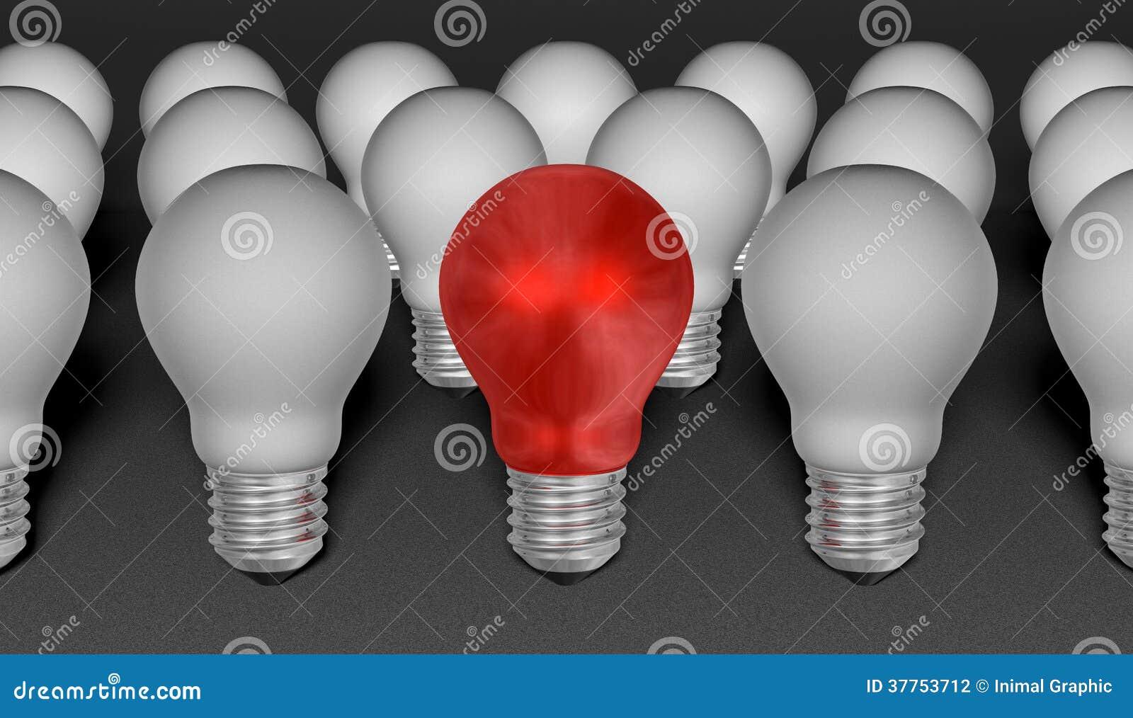 Jeden czerwone światło żarówka wśród popielatych ones na popielatym textured tle