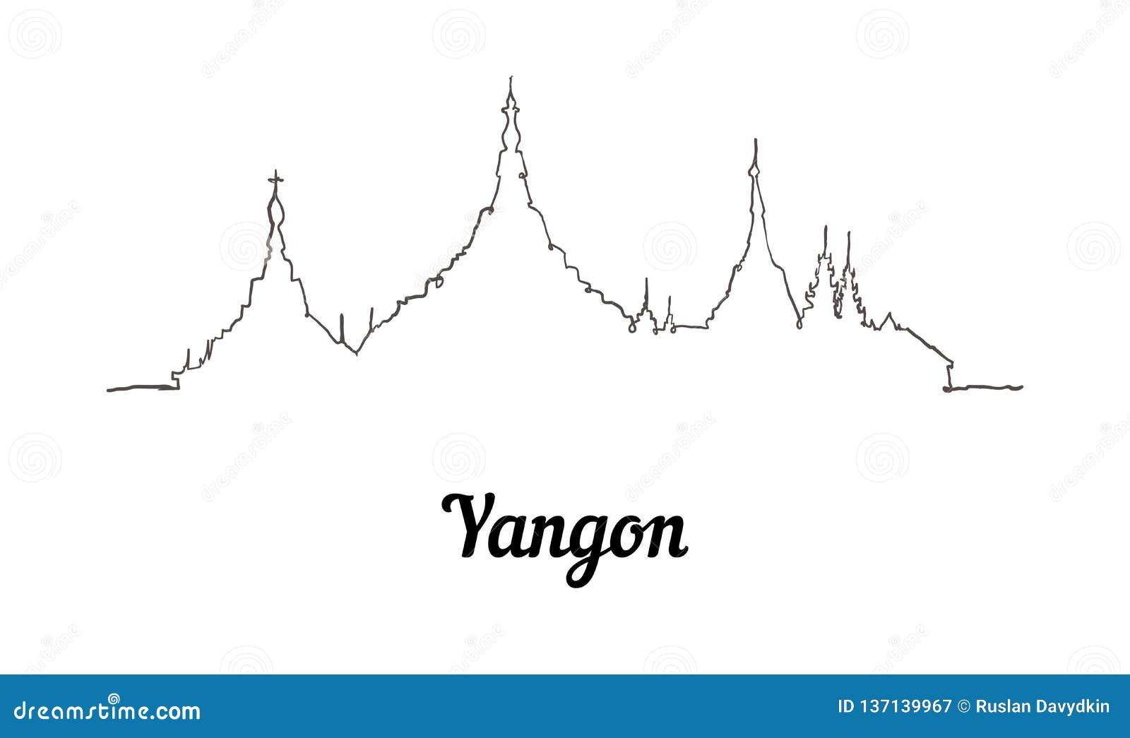 Jeden kreskowego stylu Yangon linia horyzontu Prosty nowożytny minimaistic styl