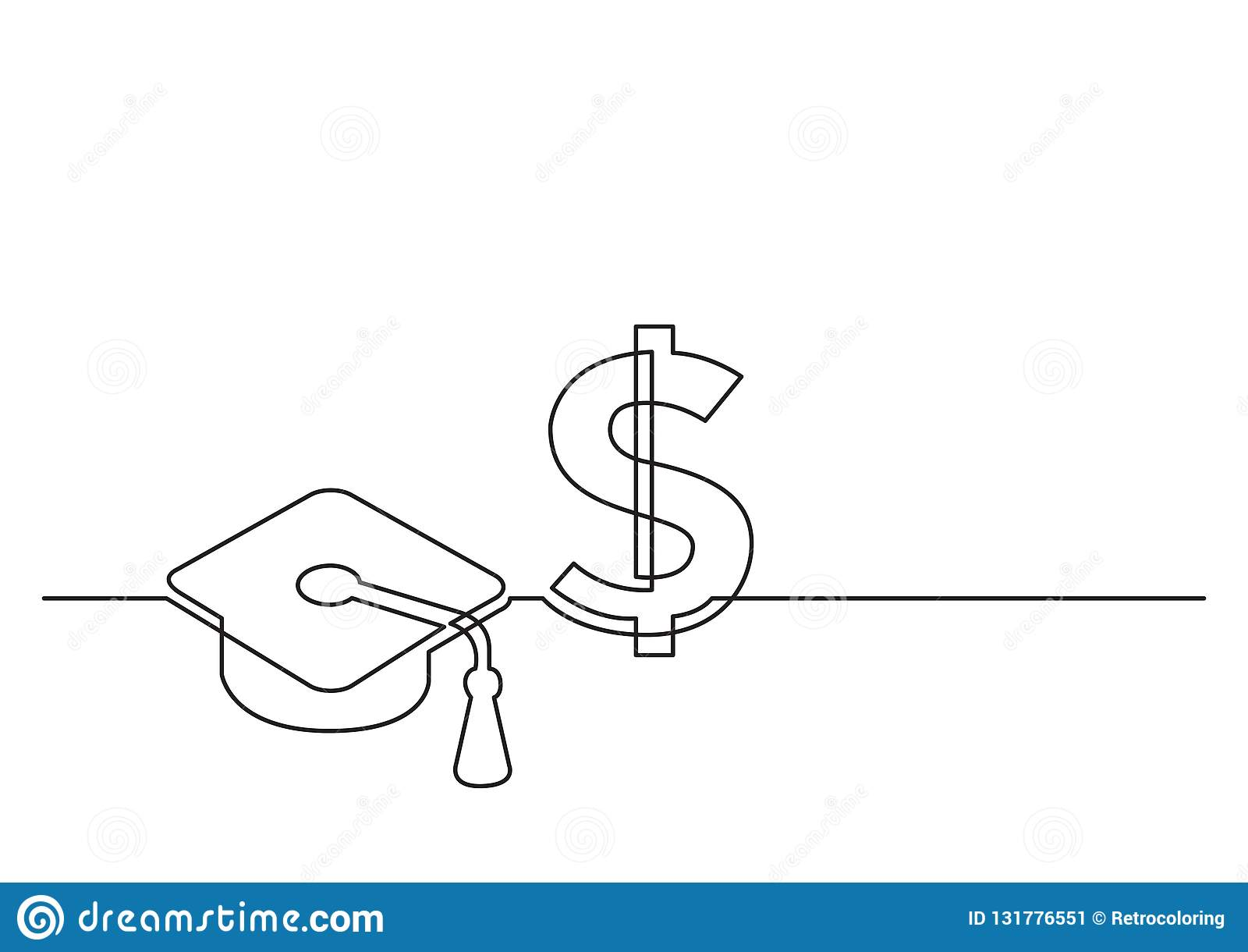 Jeden kreskowy rysunek odosobniony wektor protestuje - koszt edukacja
