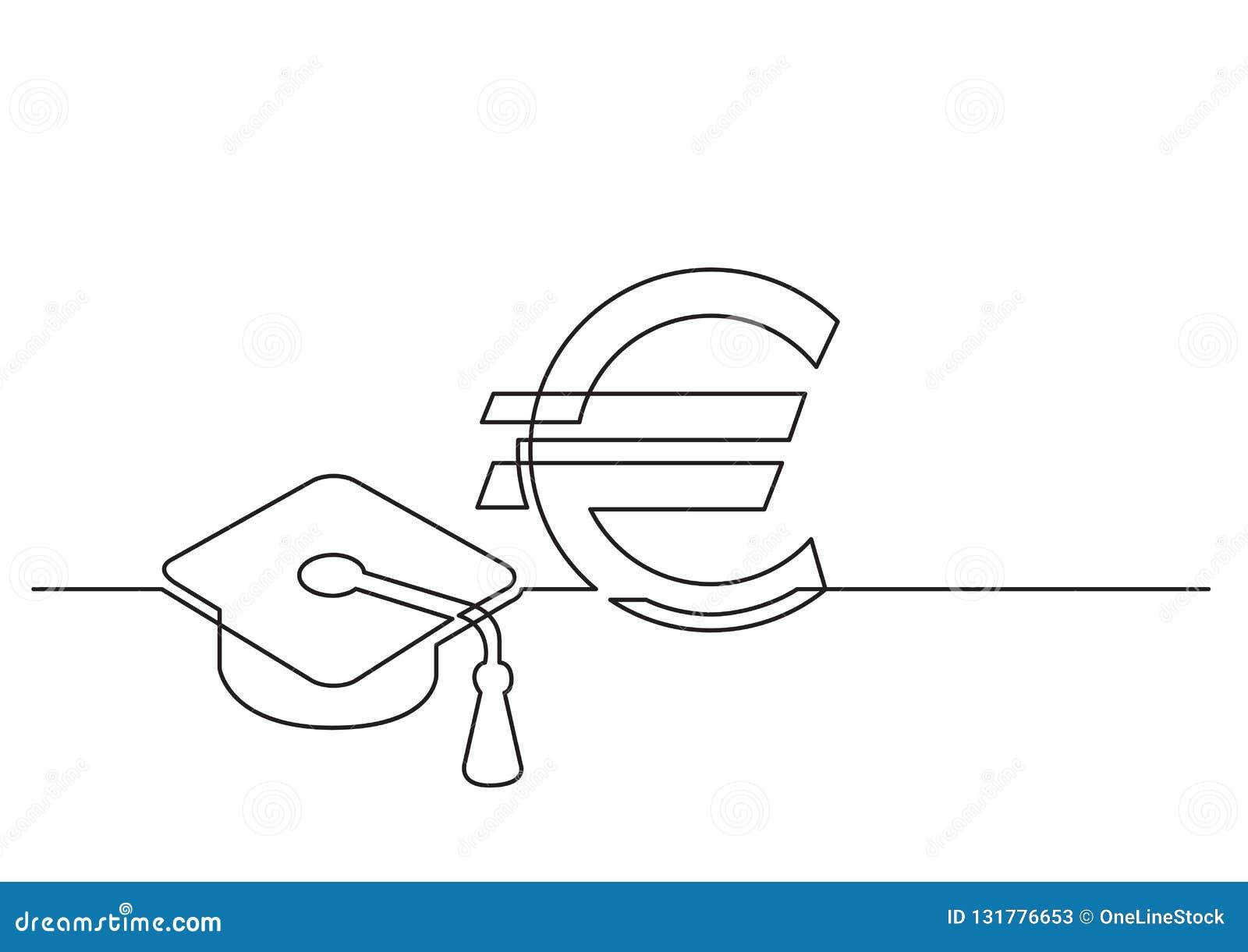 Jeden kreskowy rysunek odosobniony wektorowy przedmiot - koszt edukacja w euro