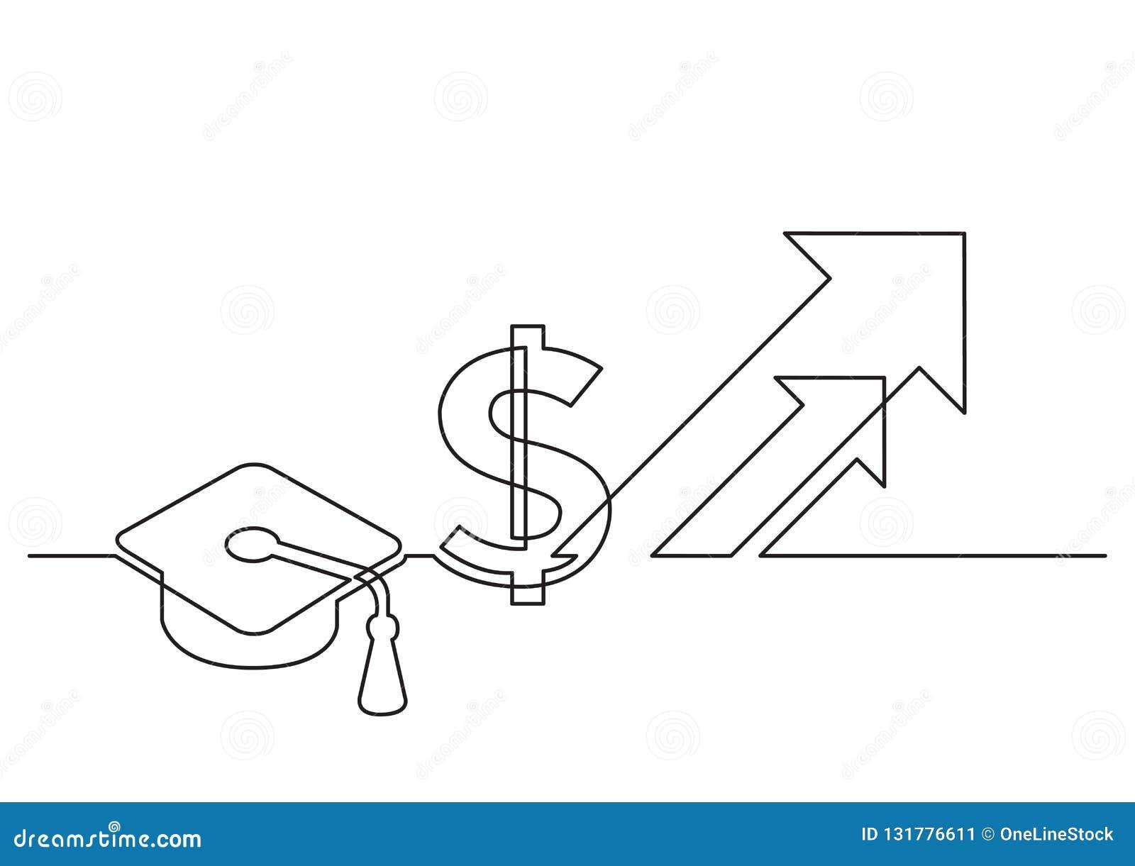 Jeden kreskowy rysunek odosobniony wektorowy przedmiot - rosnąć koszt edukacja