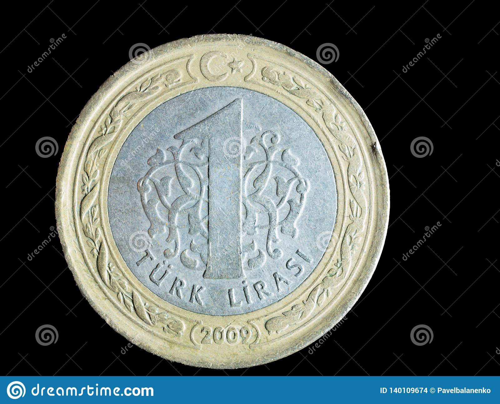 Jeden turecka moneta na czarnym tle