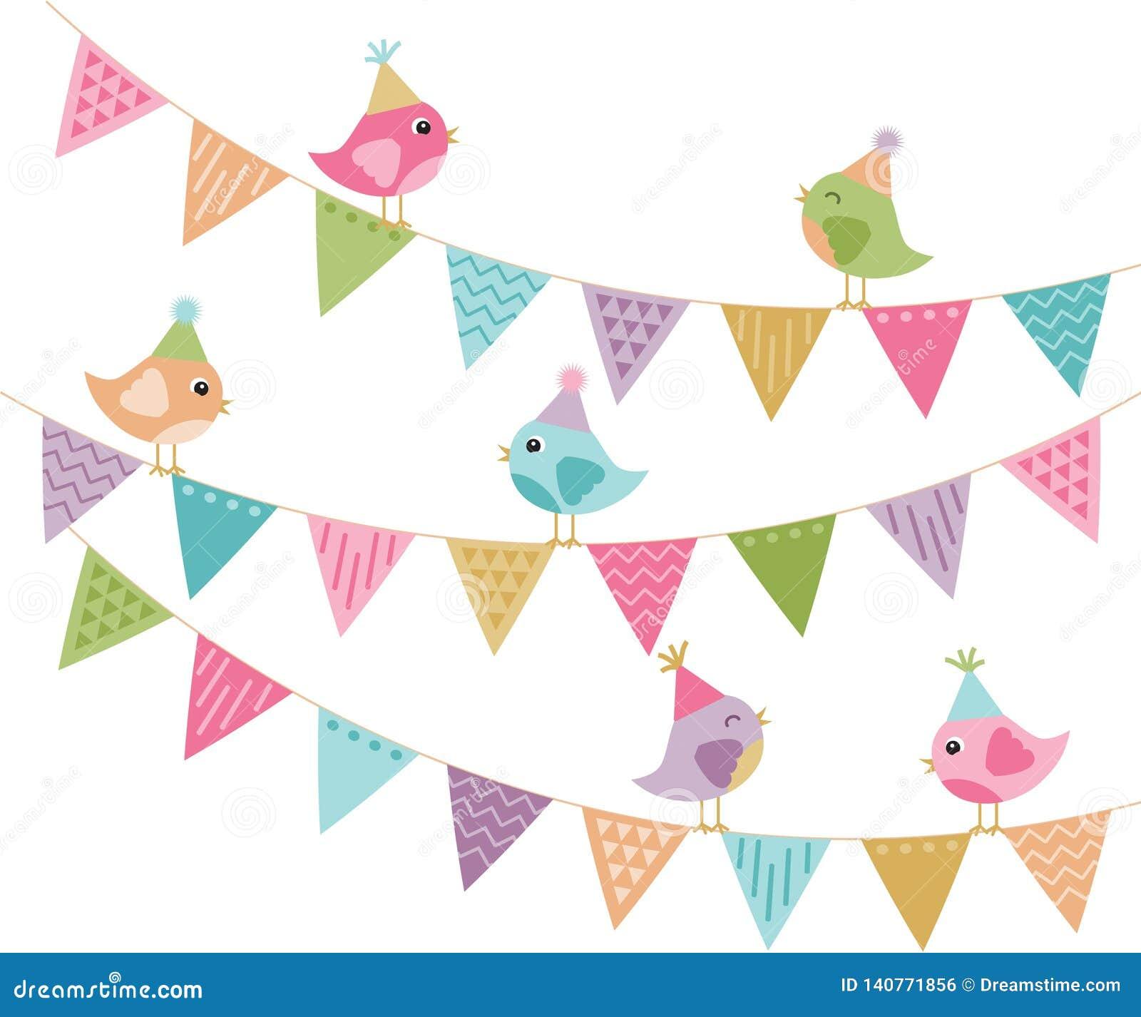 Jeder lud nette Partei-Vögel und Flagge ein