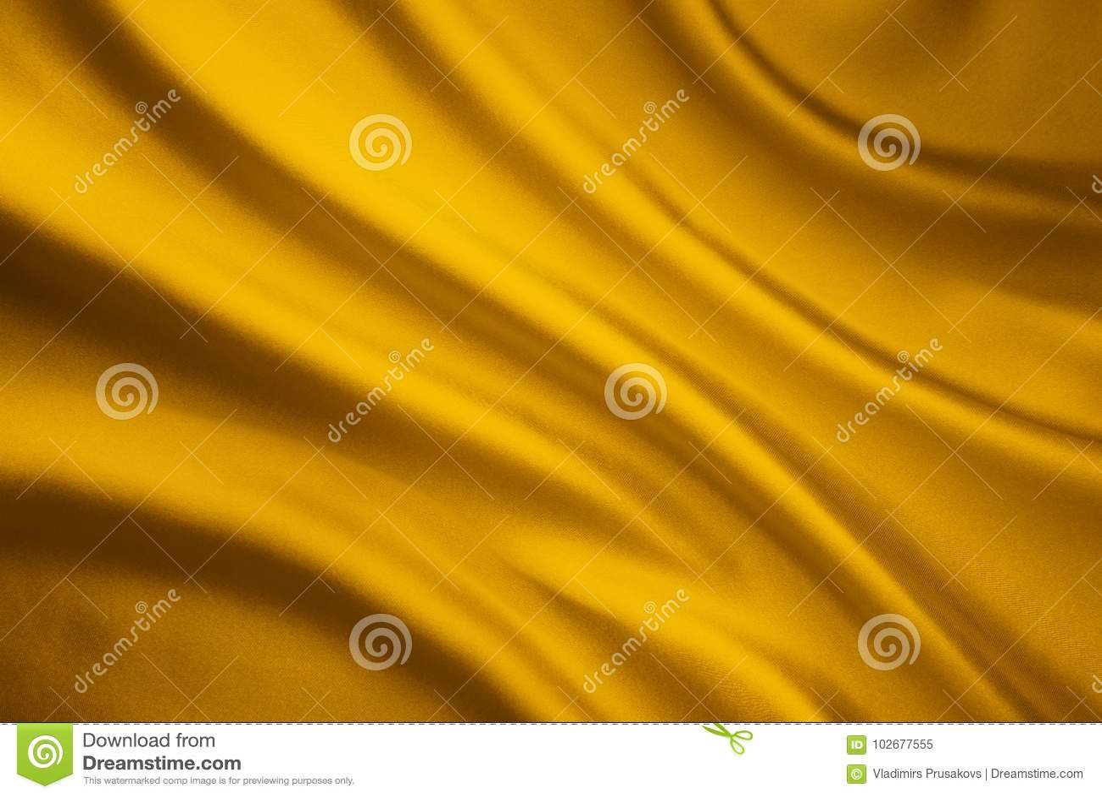 Jedwabniczej tkaniny fala tło, Żółta Atłasowa Sukienna tekstura