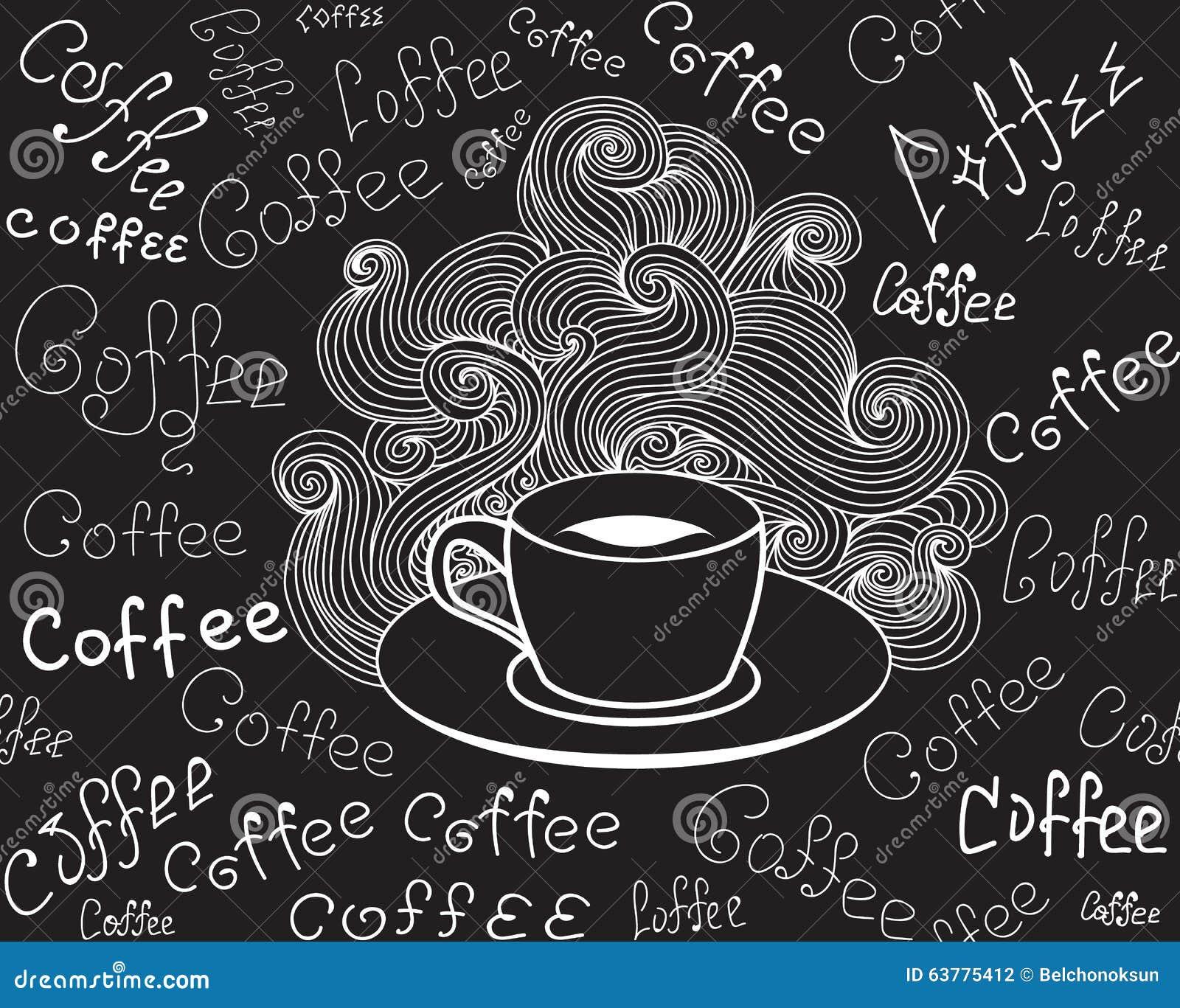 Jedzenia i napoju wektorowy bezszwowy wzór z filiżanką i słowa Kawowy ręcznie pisany kredą na popielatej desce