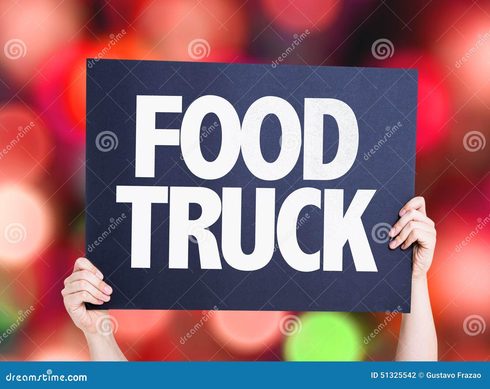 Jedzenie ciężarówki karta z bokeh tłem