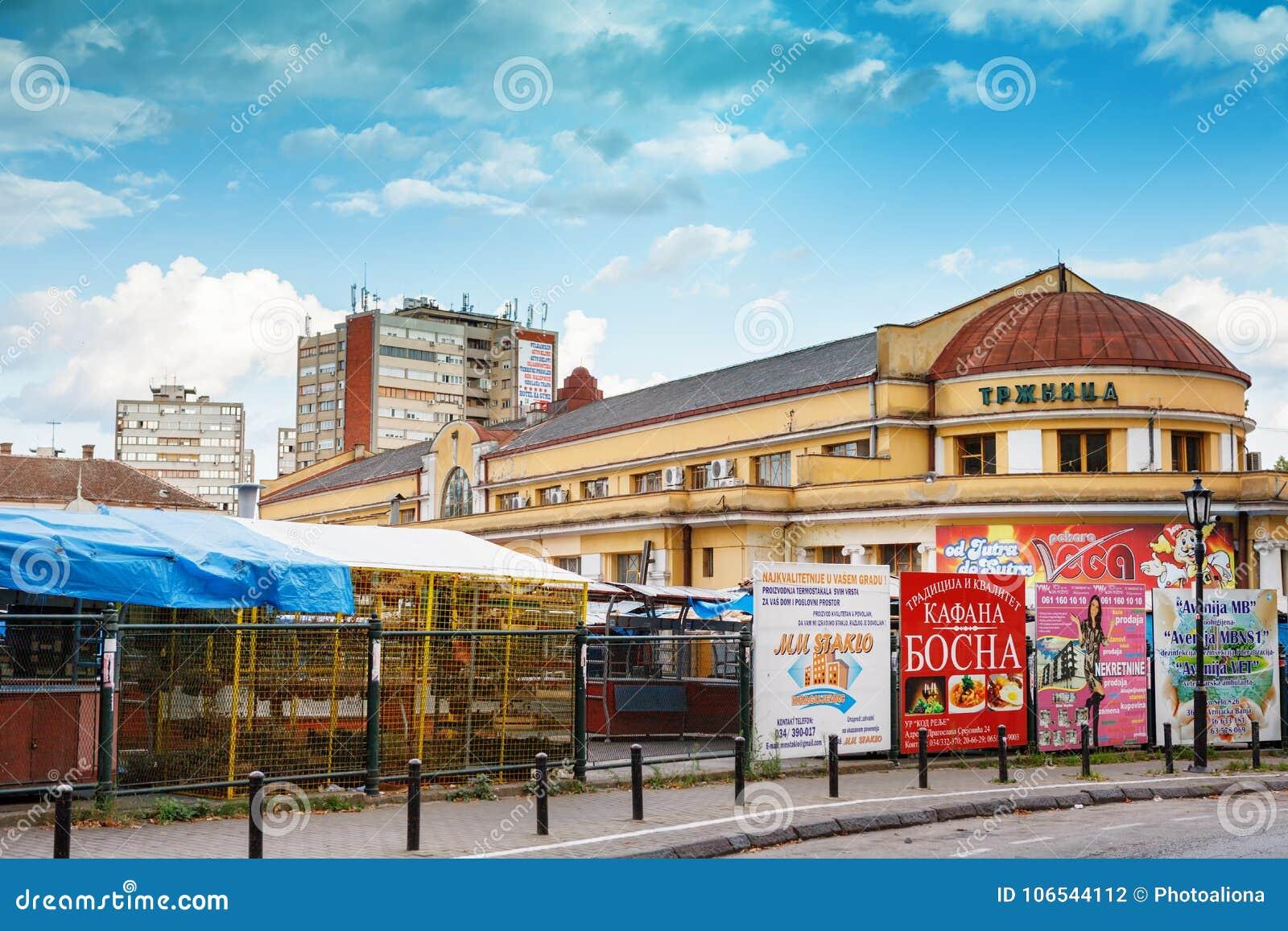 Jedzenie rynek w Zelena Pijaca Trzhnica grodzki centrum Kragujevac - duży miasteczko Sumadija teren