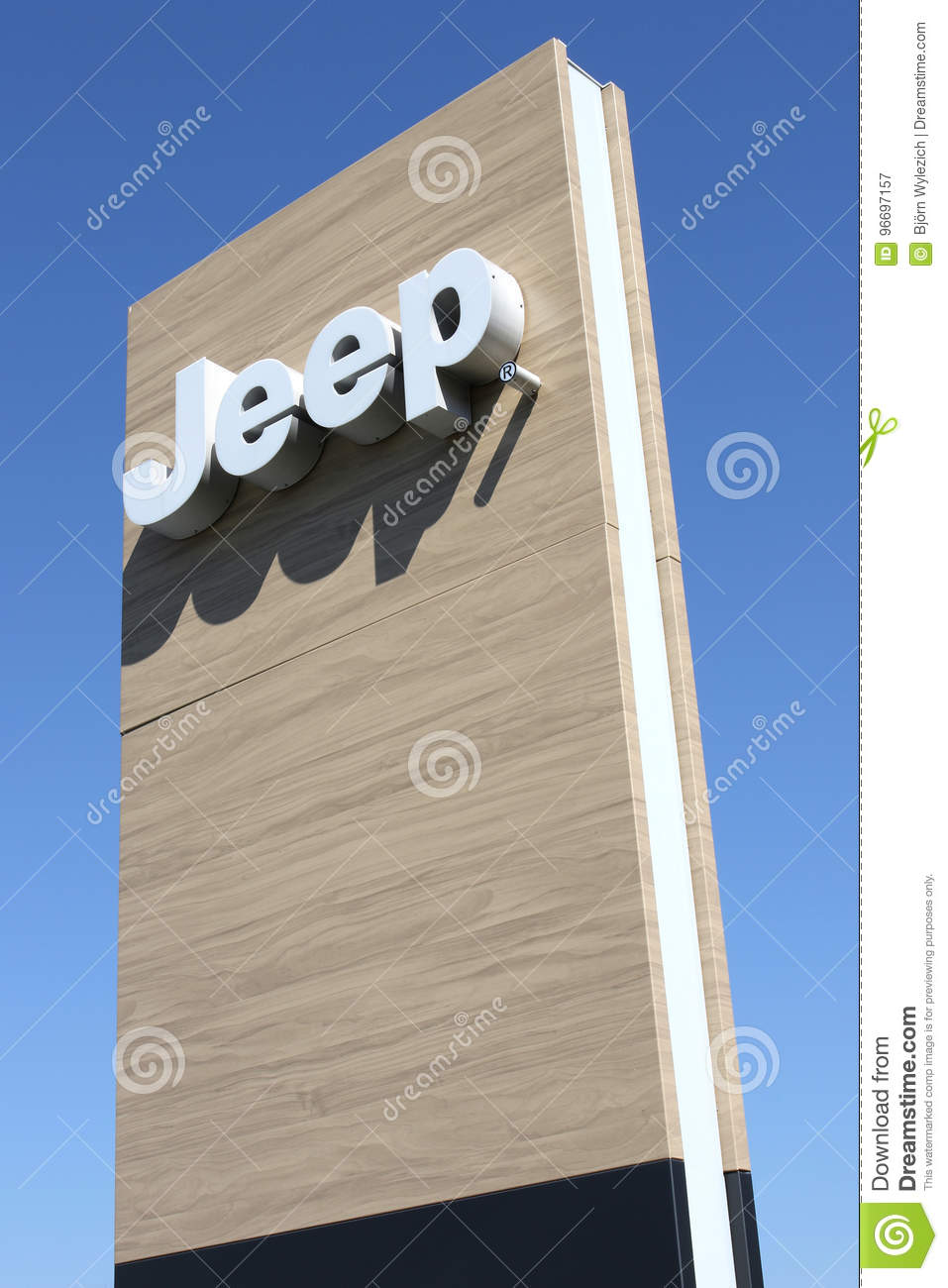 Jeep dealership sign against blue sky editorial photography editorial stock photo biocorpaavc