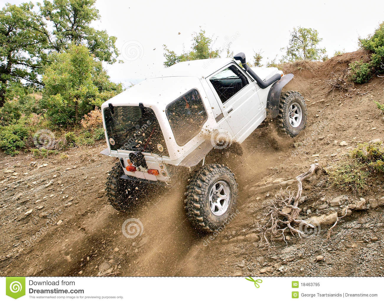 Jeep Driving Up Hill