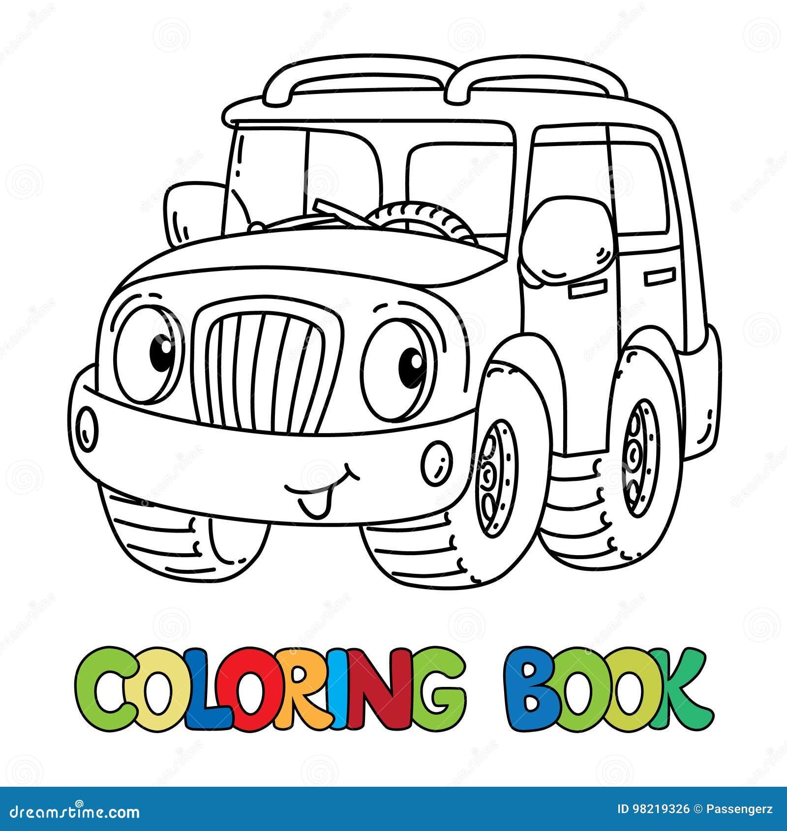 Jeep Ou Outroader Drôle Avec Livre De Coloriage De Yeux