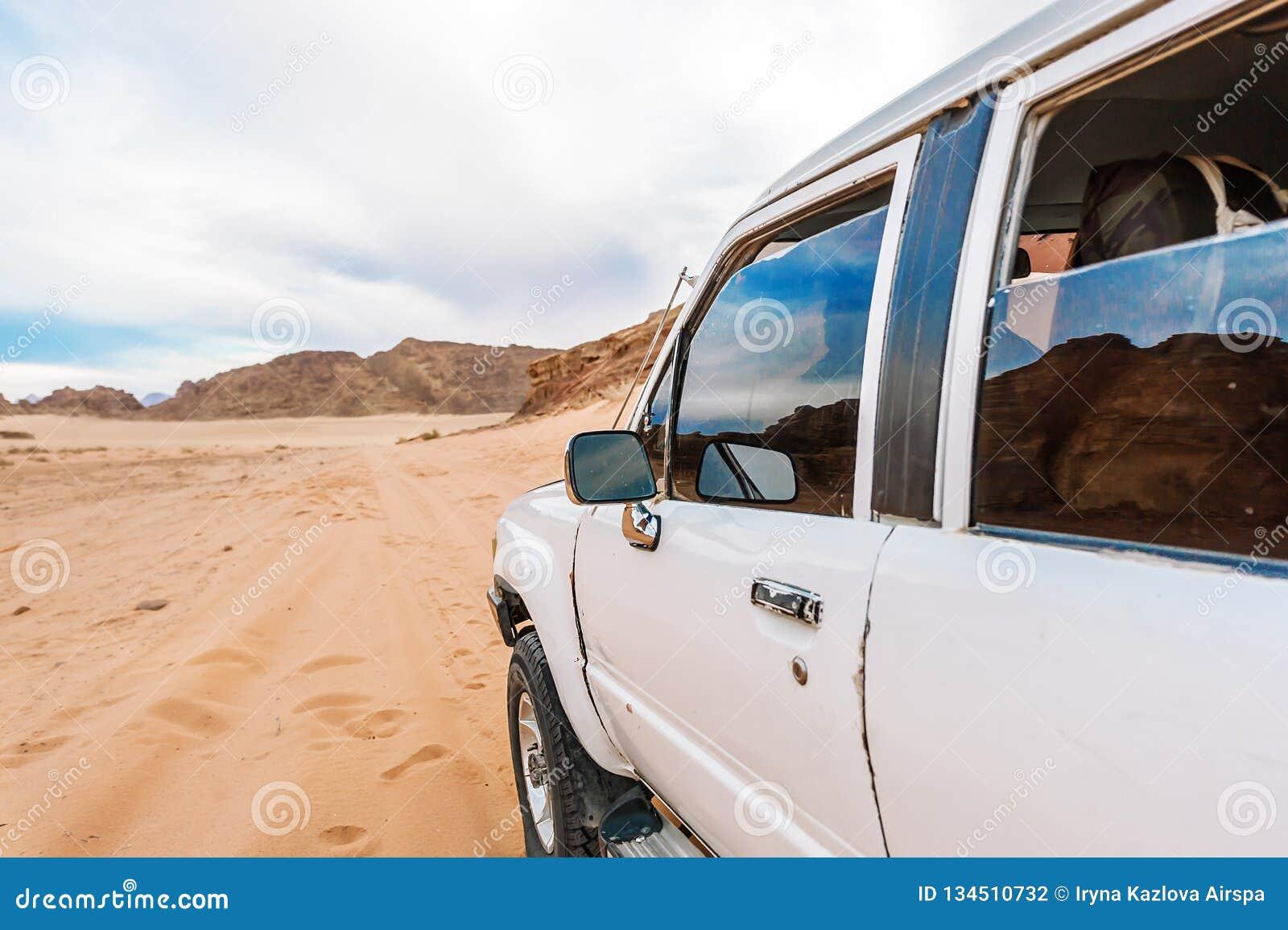 Jeep in the Wadi rum desert. Jordan with car