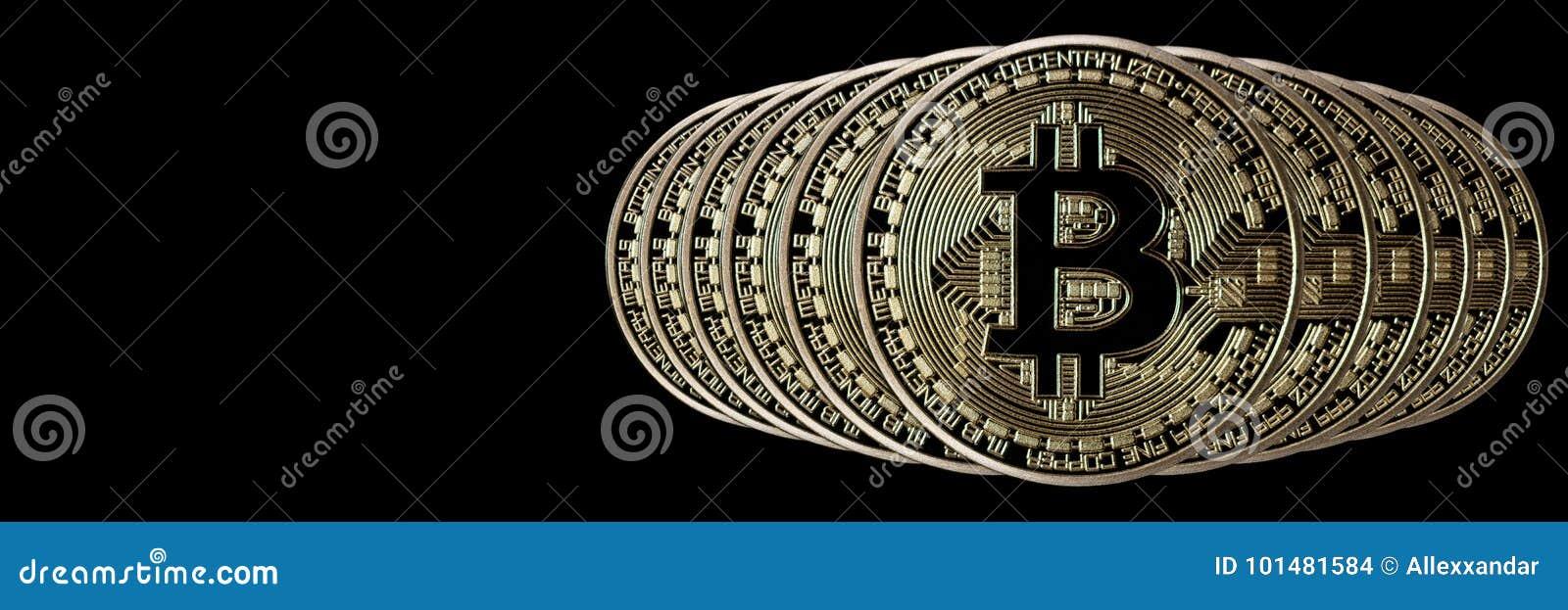 Jefe de la bandera de Bitcoin Moneda de oro Cryptocurrency con el espacio para