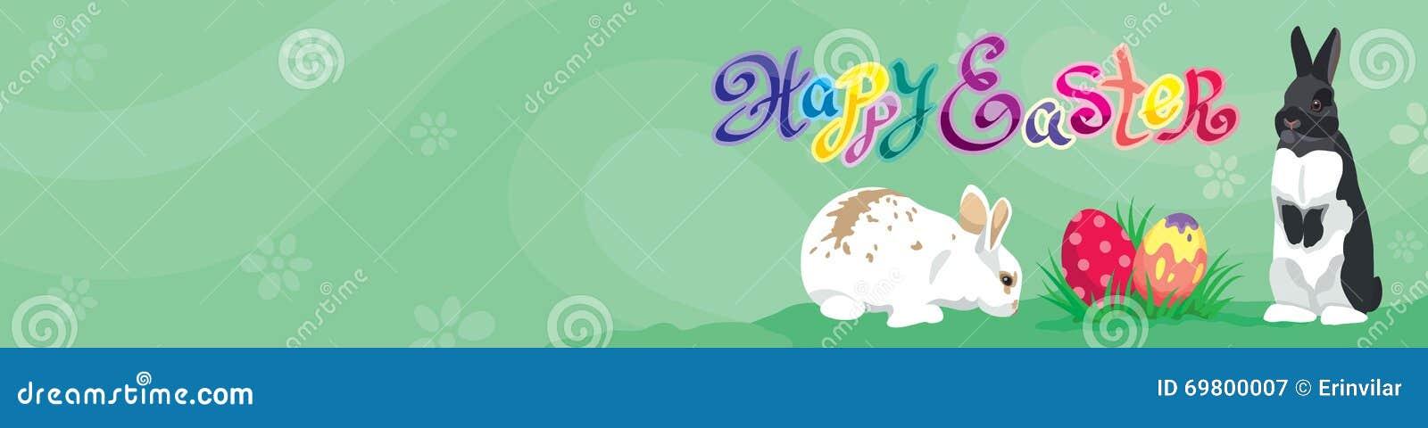 Jefe de la bandera del web de la plantilla de Pascua con el texto feliz de Pascua