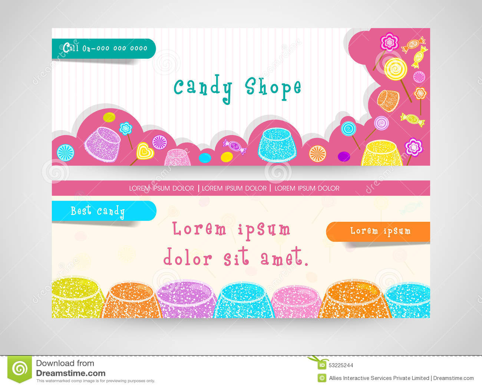 Jefe del web de la tienda del caramelo o sistema de la bandera