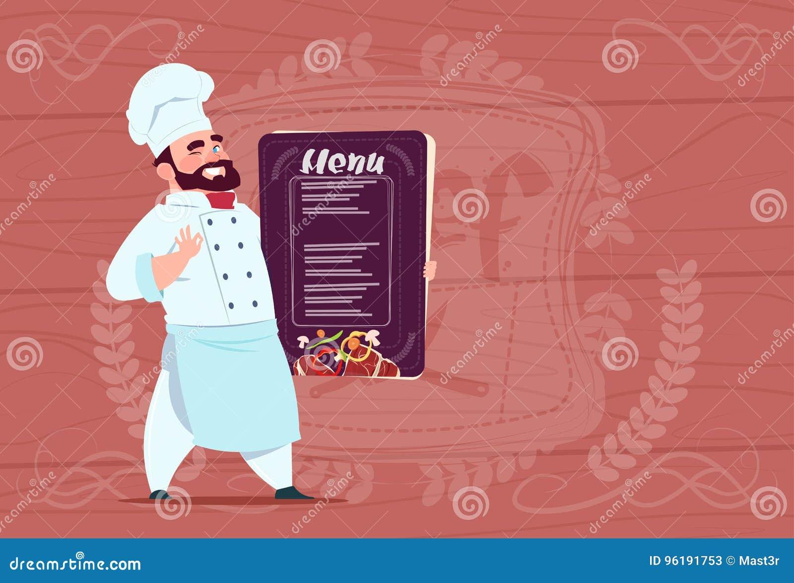 Jefe sonriente de la historieta de Holding Restaurant Menu del cocinero del cocinero en uniforme del blanco sobre fondo texturiza