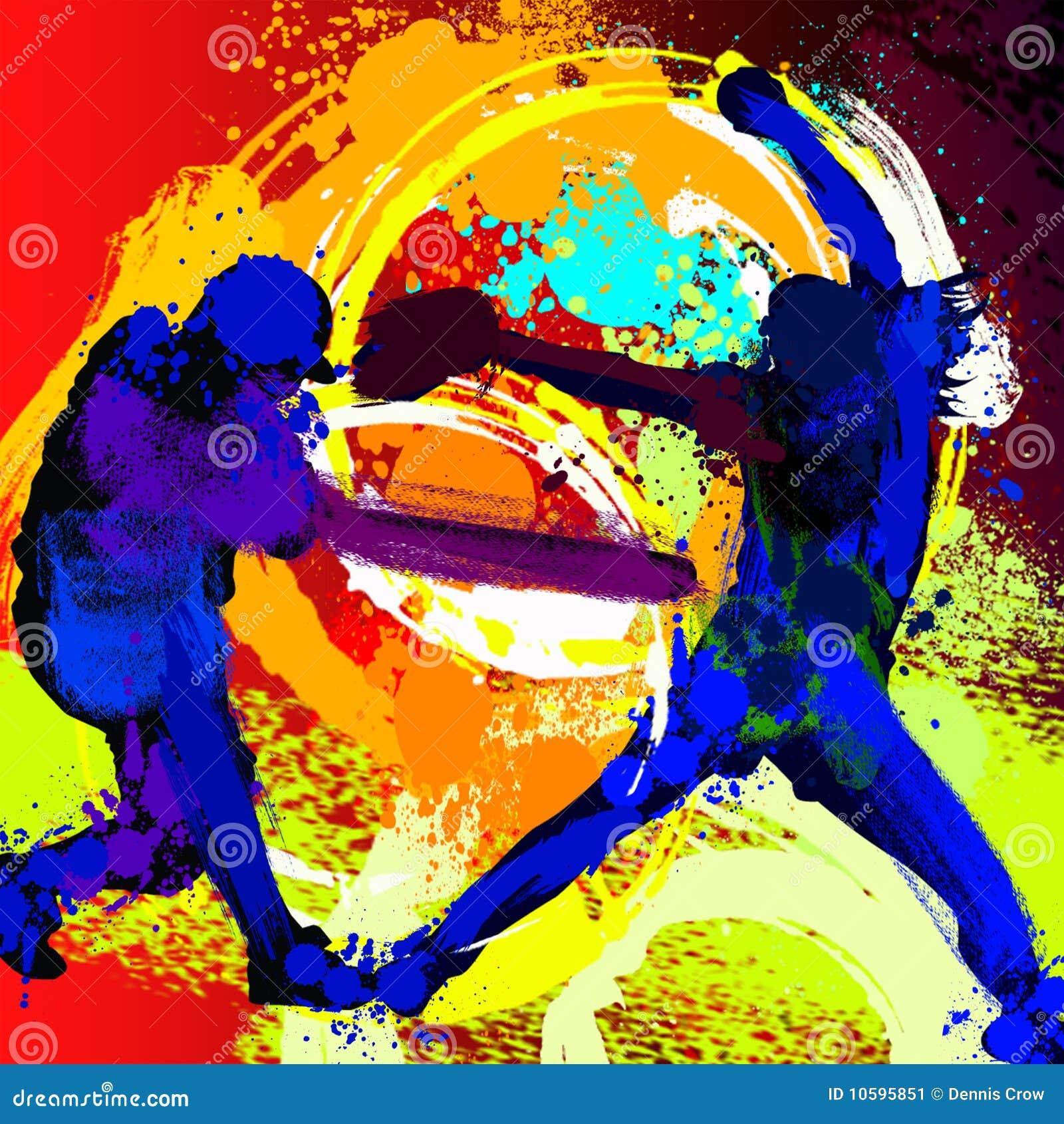 Jejua a pintura das silhuetas dos jogadores do softball do passo