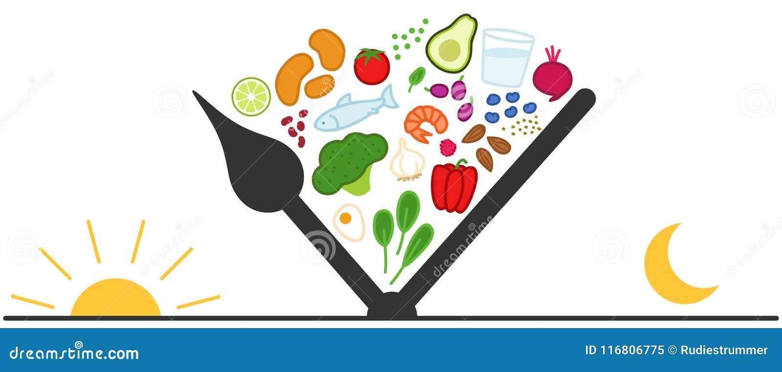 Jejum intermitente, comer tempo-restrito Alimentos saudáveis entre as mãos de pulso de disparo, o nascer do sol, o sol e a lua, j