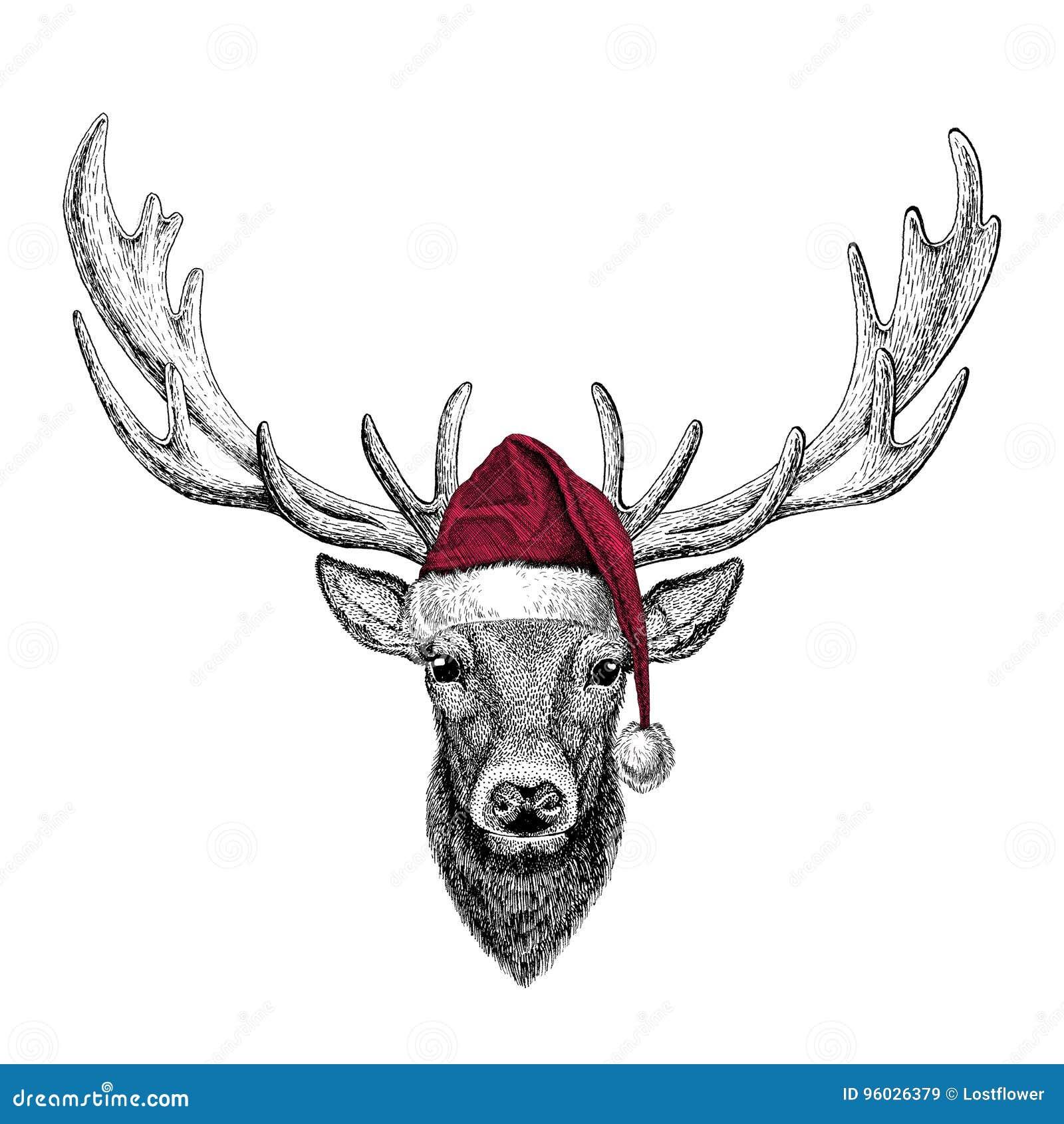 Jeleni Bożenarodzeniowy ilustracyjny dzikie zwierzę jest ubranym bożego narodzenia Santa Claus zimy kapeluszowego Czerwonego kape
