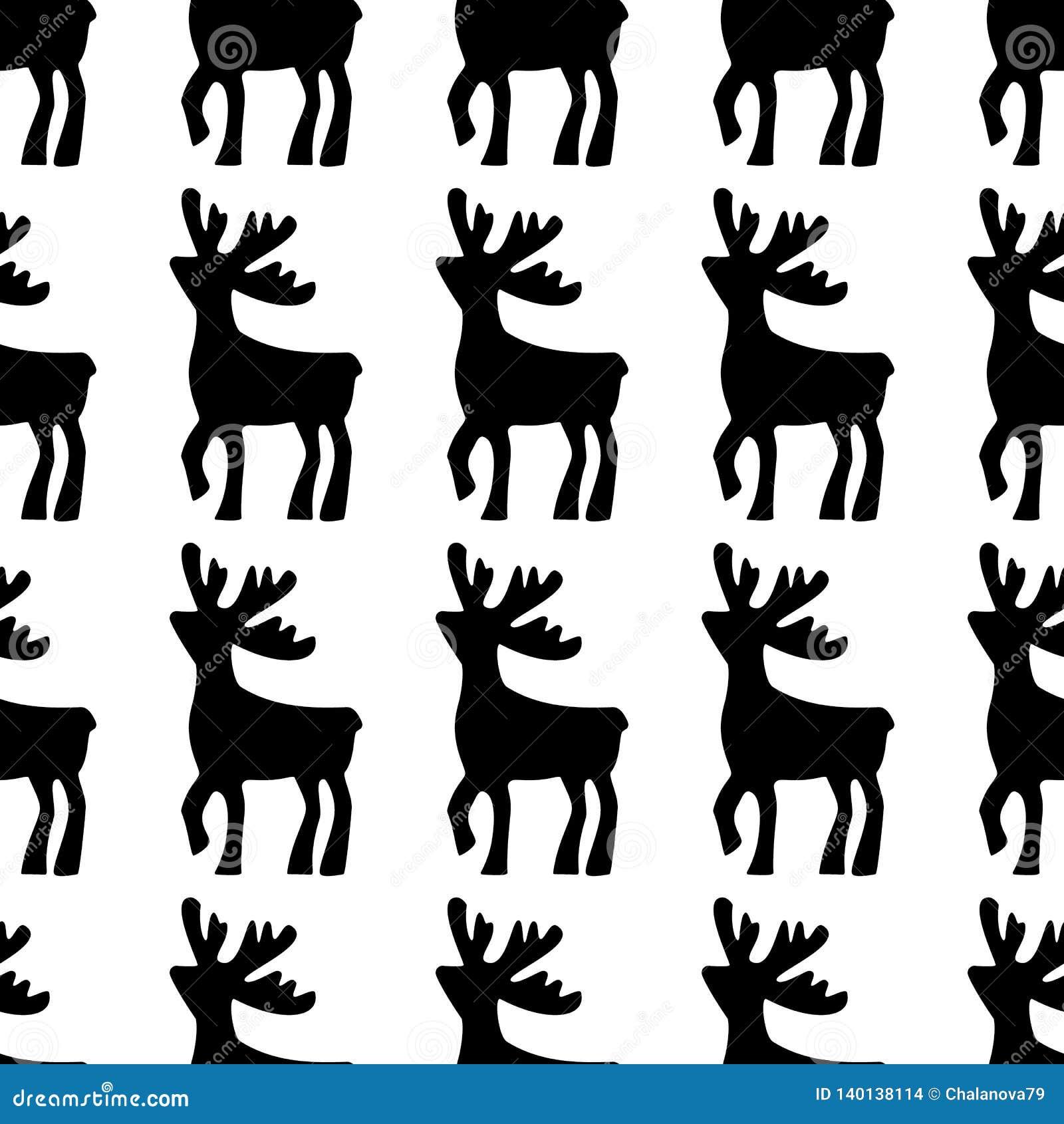 Jeleni rysujący ręki ilustraci wektor Jelenia czarna sylwetki ikona na białym tle Bezszwowy rogacza wzór