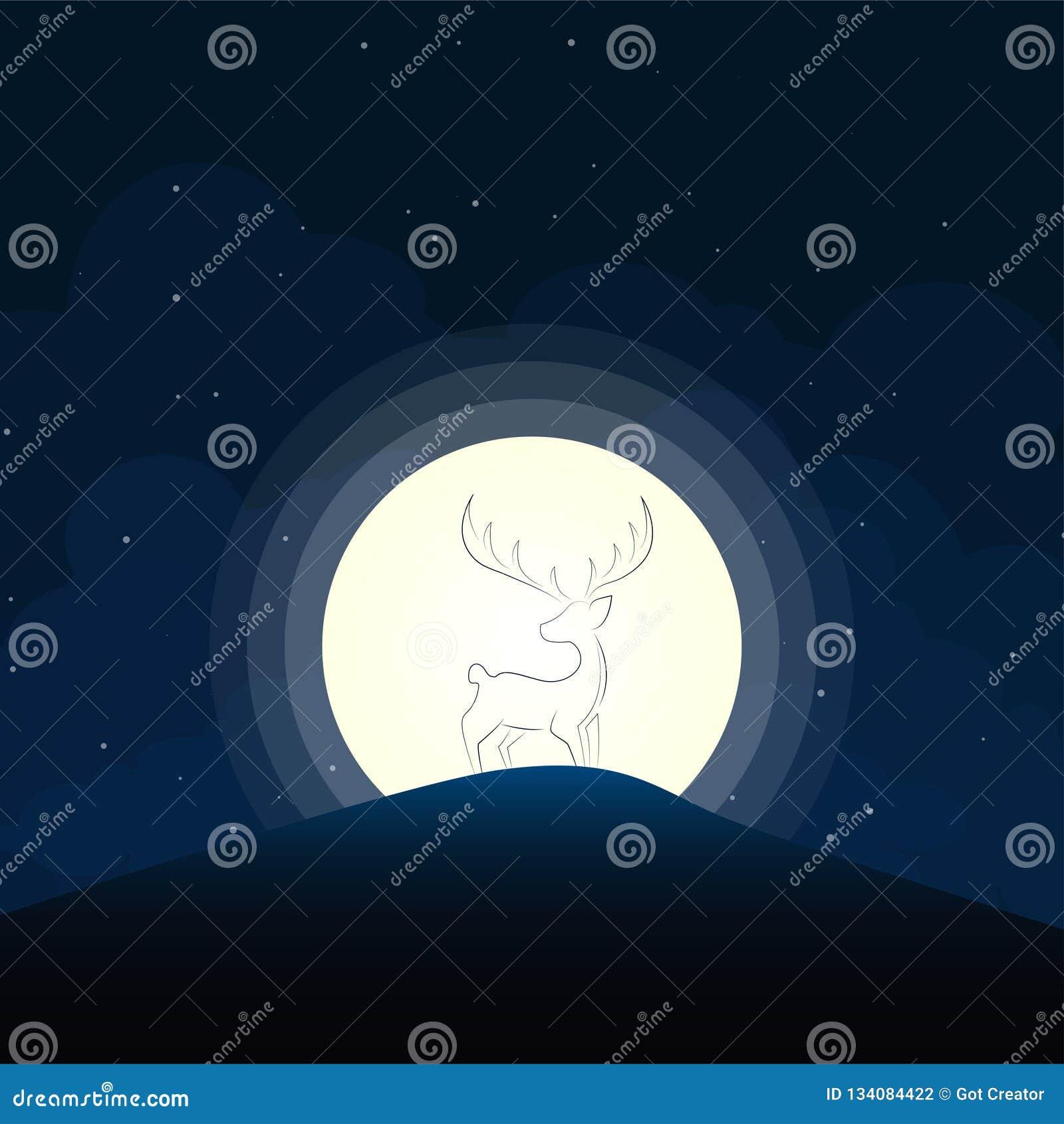 Jeleni sylwetki blask księżyca na górze przy nocą