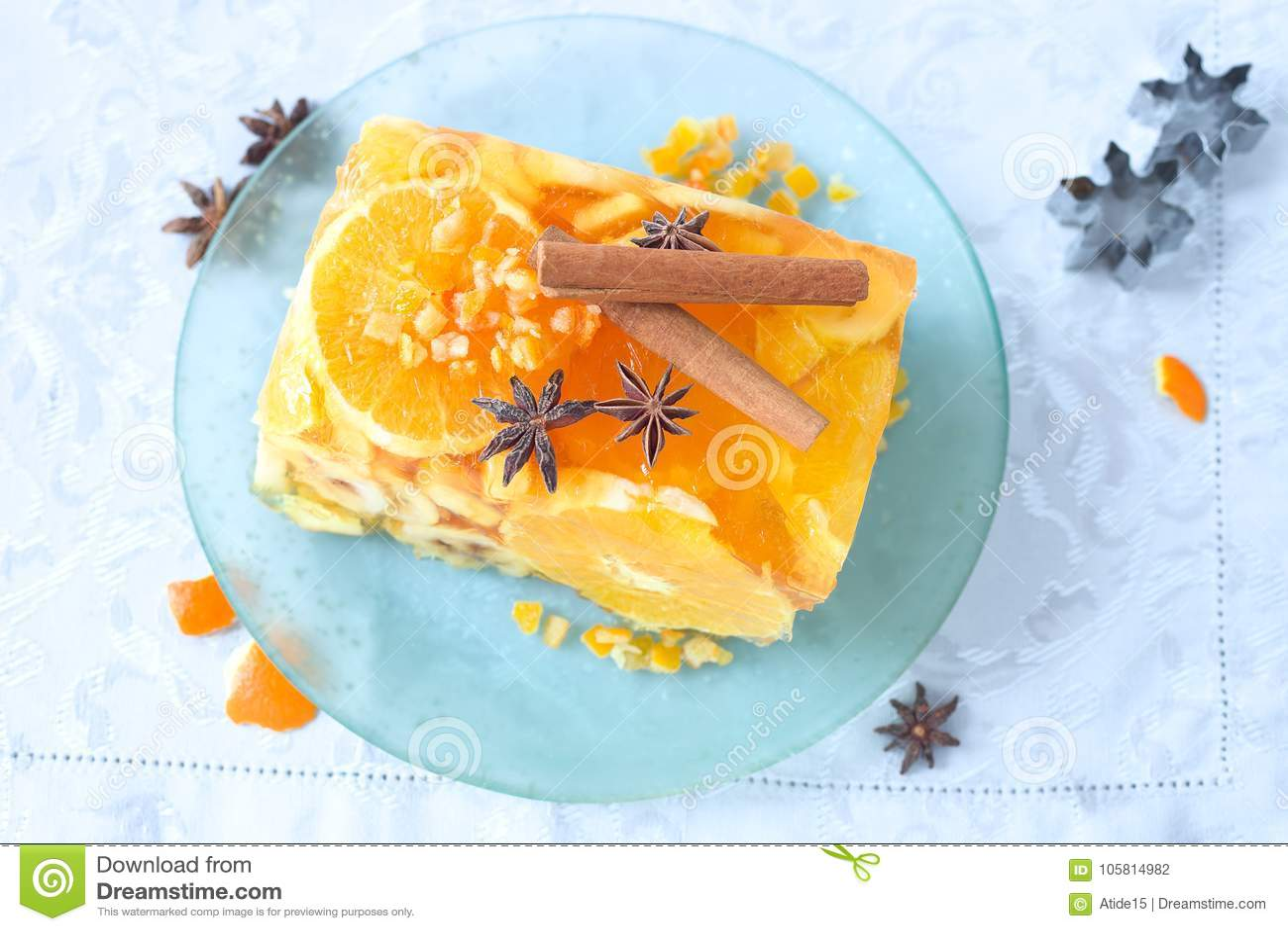 Jello Fruit Cake Stock Photo Image Of Food Orange 105814982
