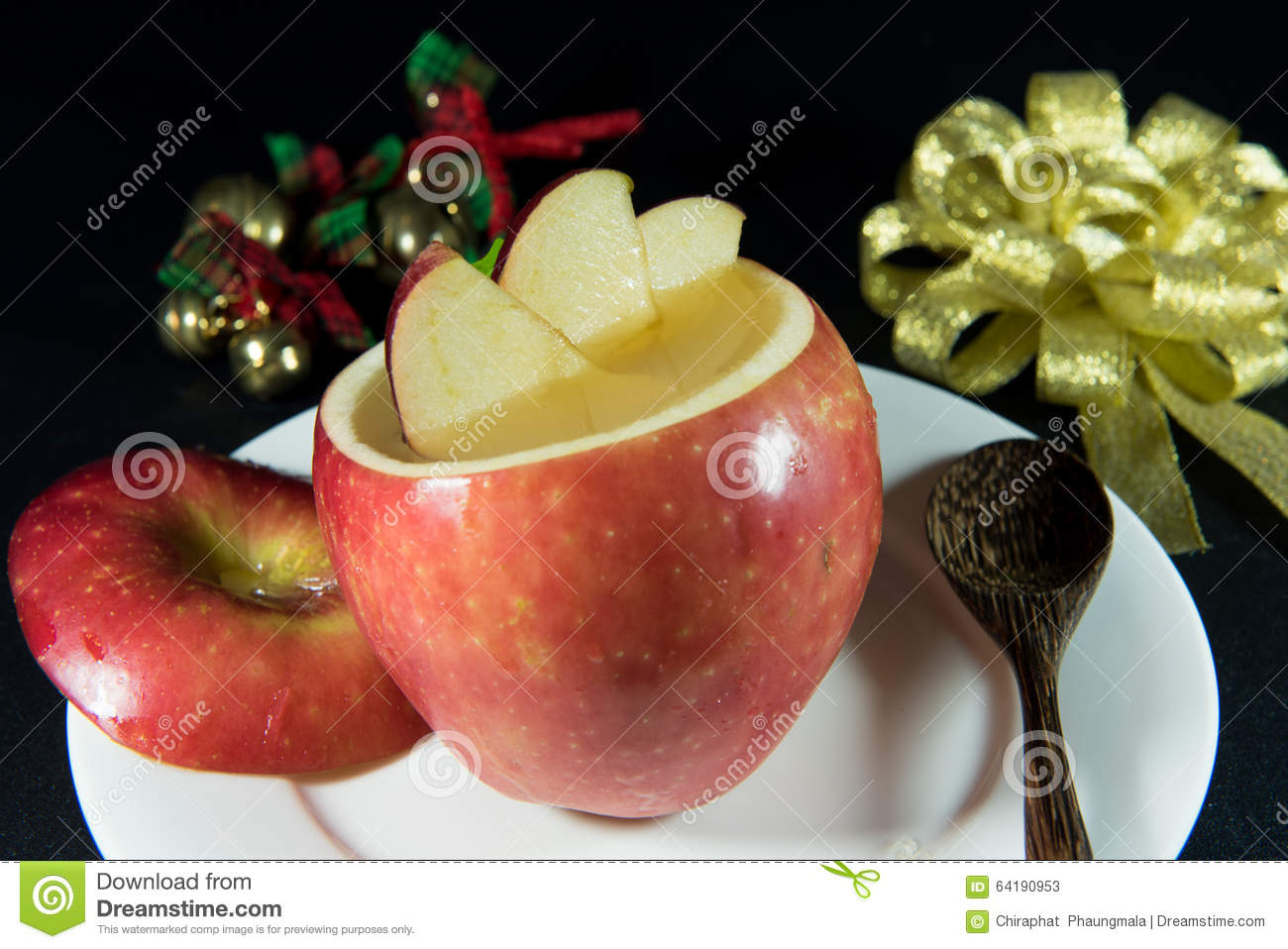 Jelly Add In Apple Decorate With A Slice Of Apple Stock Image