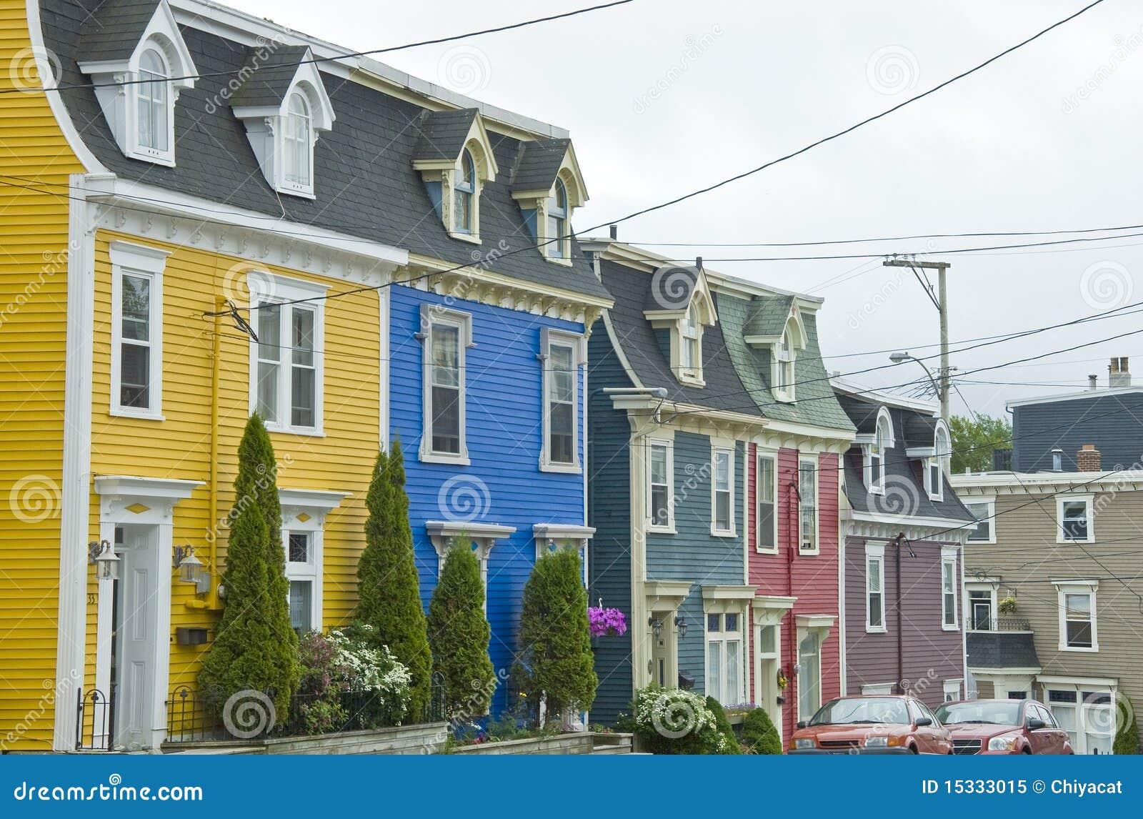Jelly Bean Row >> Jelly Bean Row Houses, St. John's Stock Image - Image: 15333015