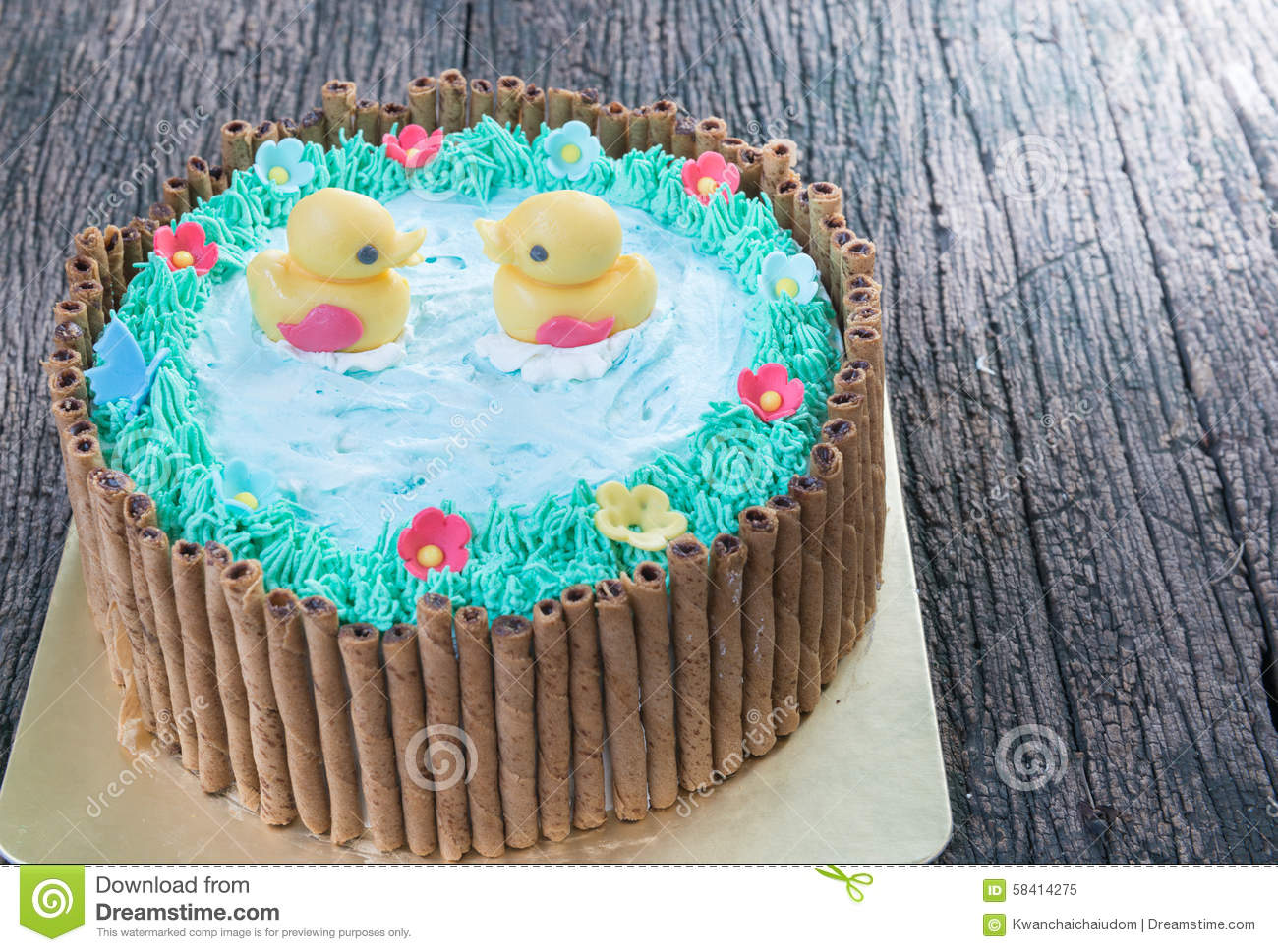 Cartoon Jelly Cake Recipe: Duck On Frosted Surface Of Lake Neusiedl Royalty-Free