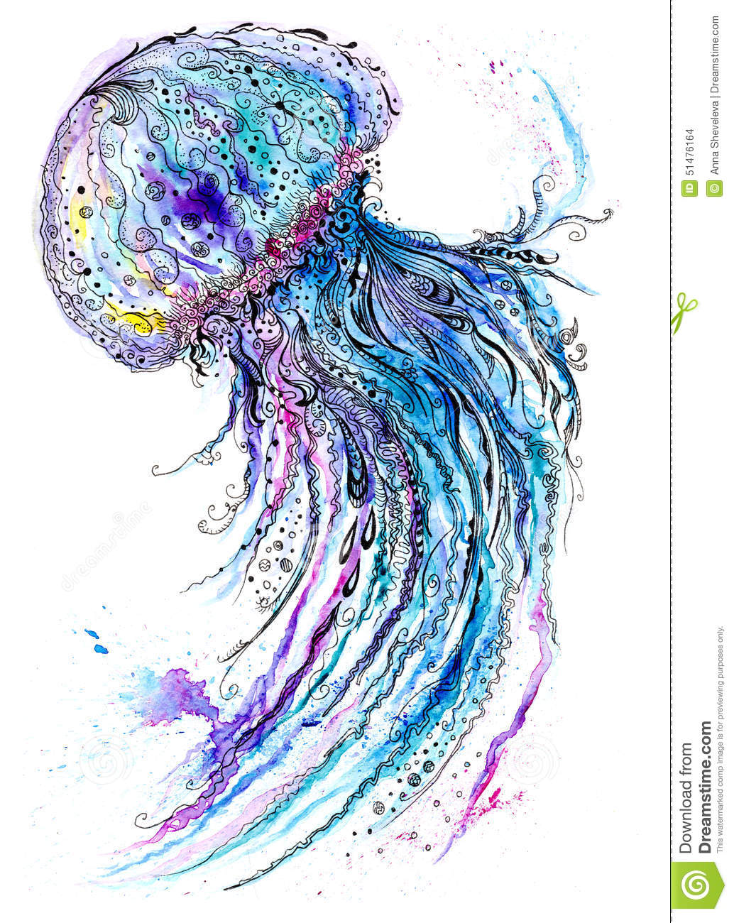 Jelly fish watercolor and ink painting stock illustration for Sea life paintings artists