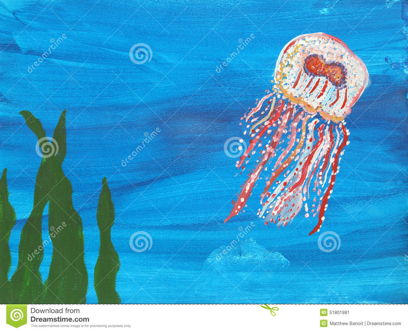 Jellyfish Painting Stock Illustration Image 51801981