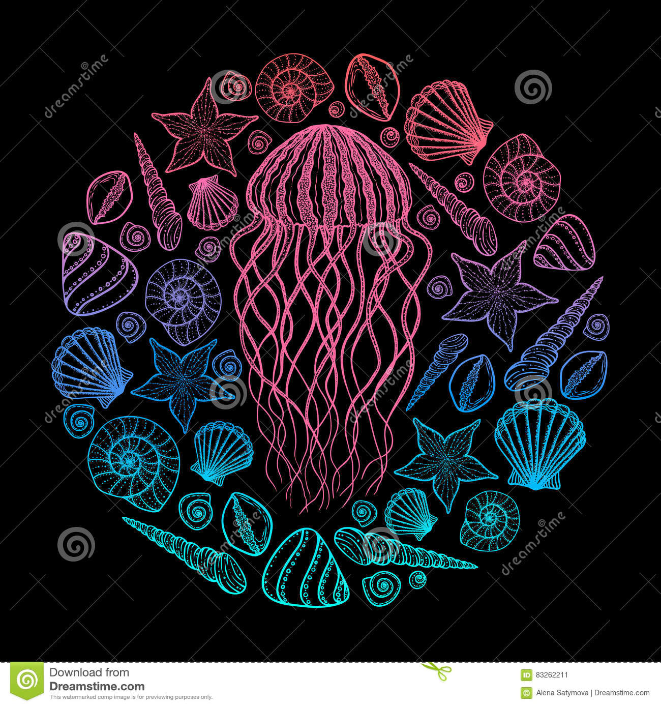 Line Art Styles : Jellyfish and shells in line art style hand drawn vector