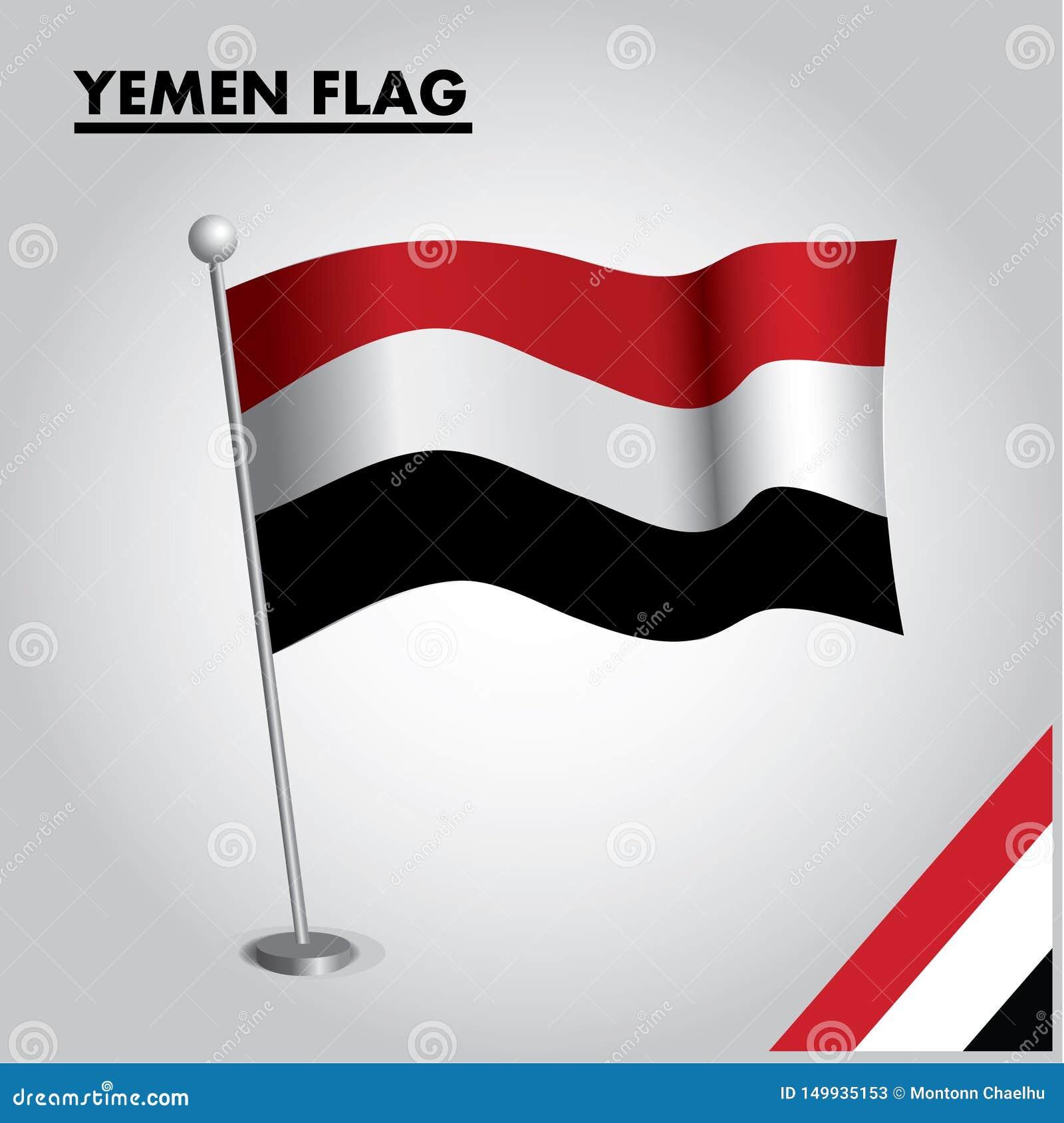 JEMEN-Flagge Staatsflagge vom JEMEN auf einem Pfosten